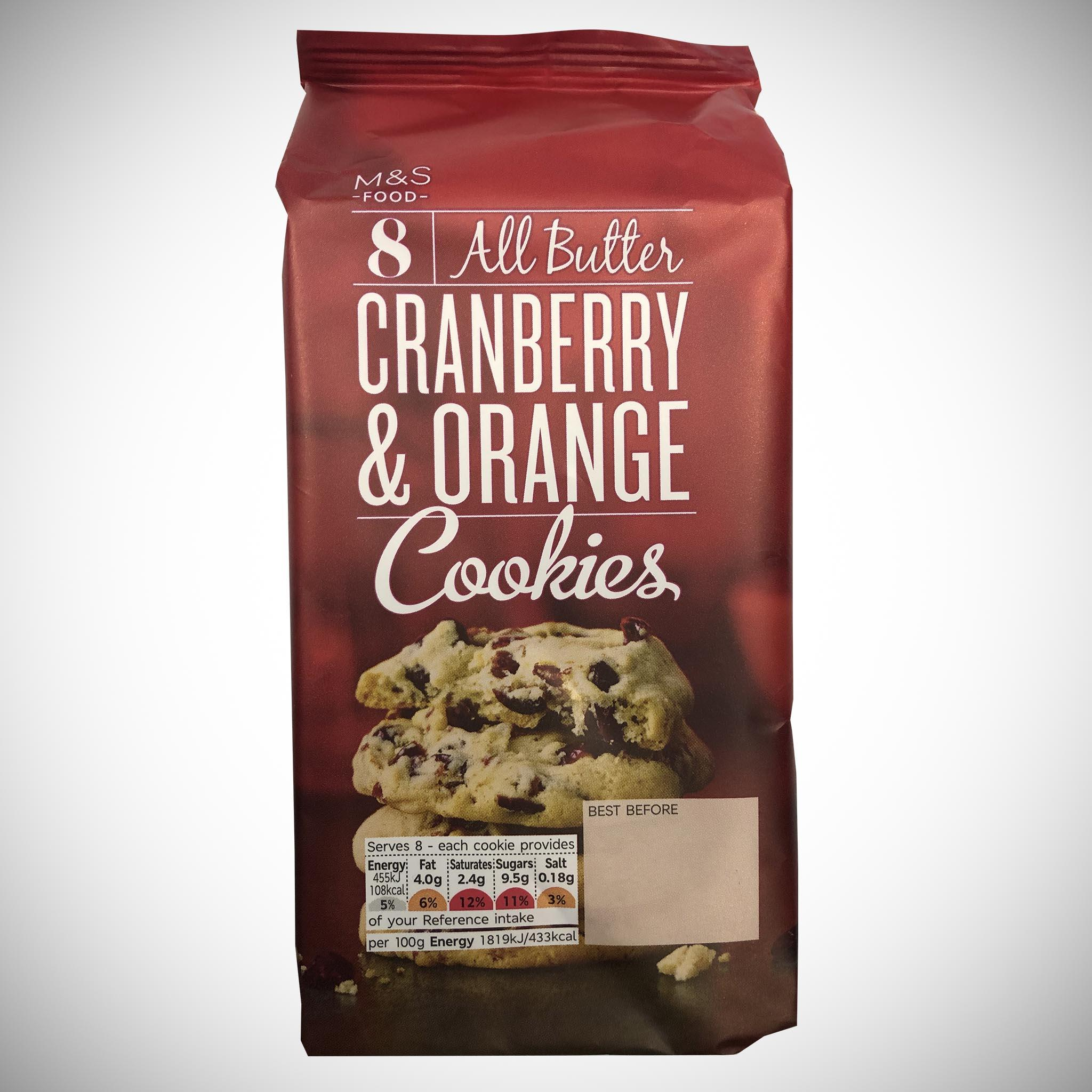 8 All Butter Cranberry and Orange Cookies 200g