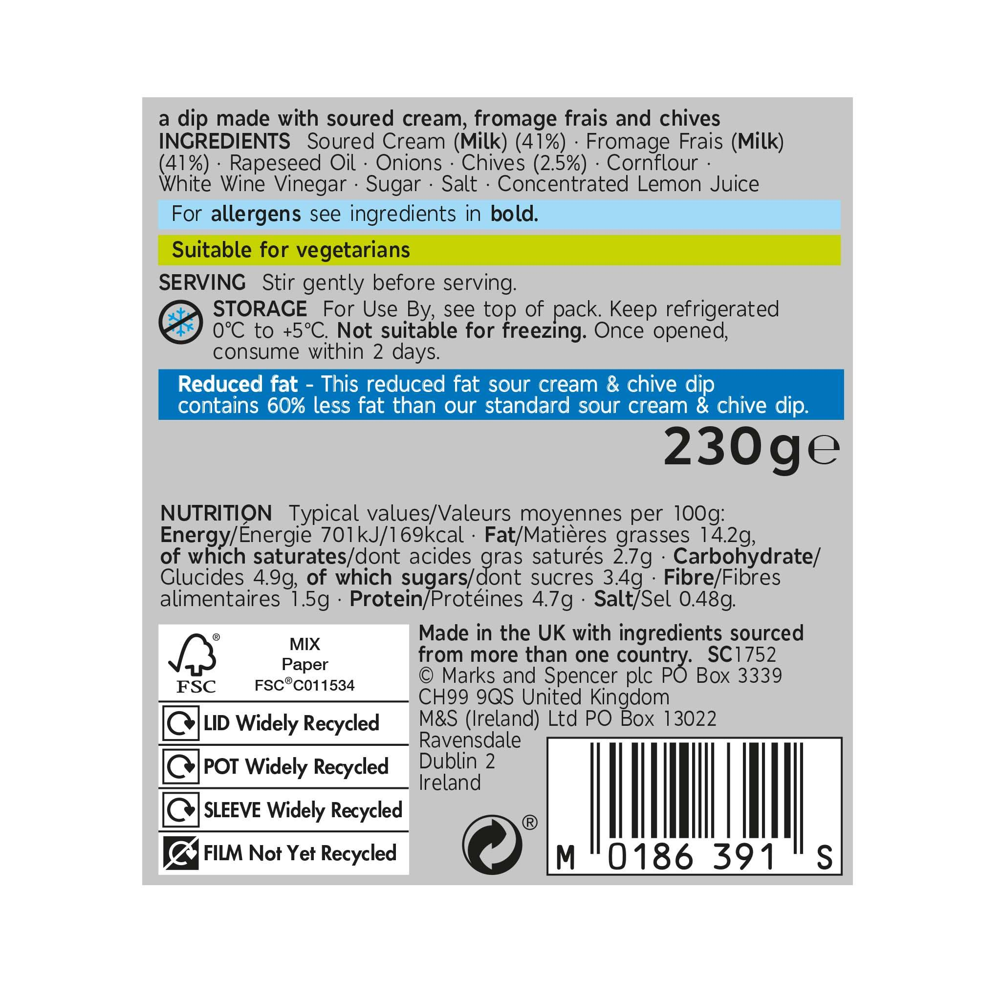 Reduced Fat Sour Cream & Chive Dip 230g Label