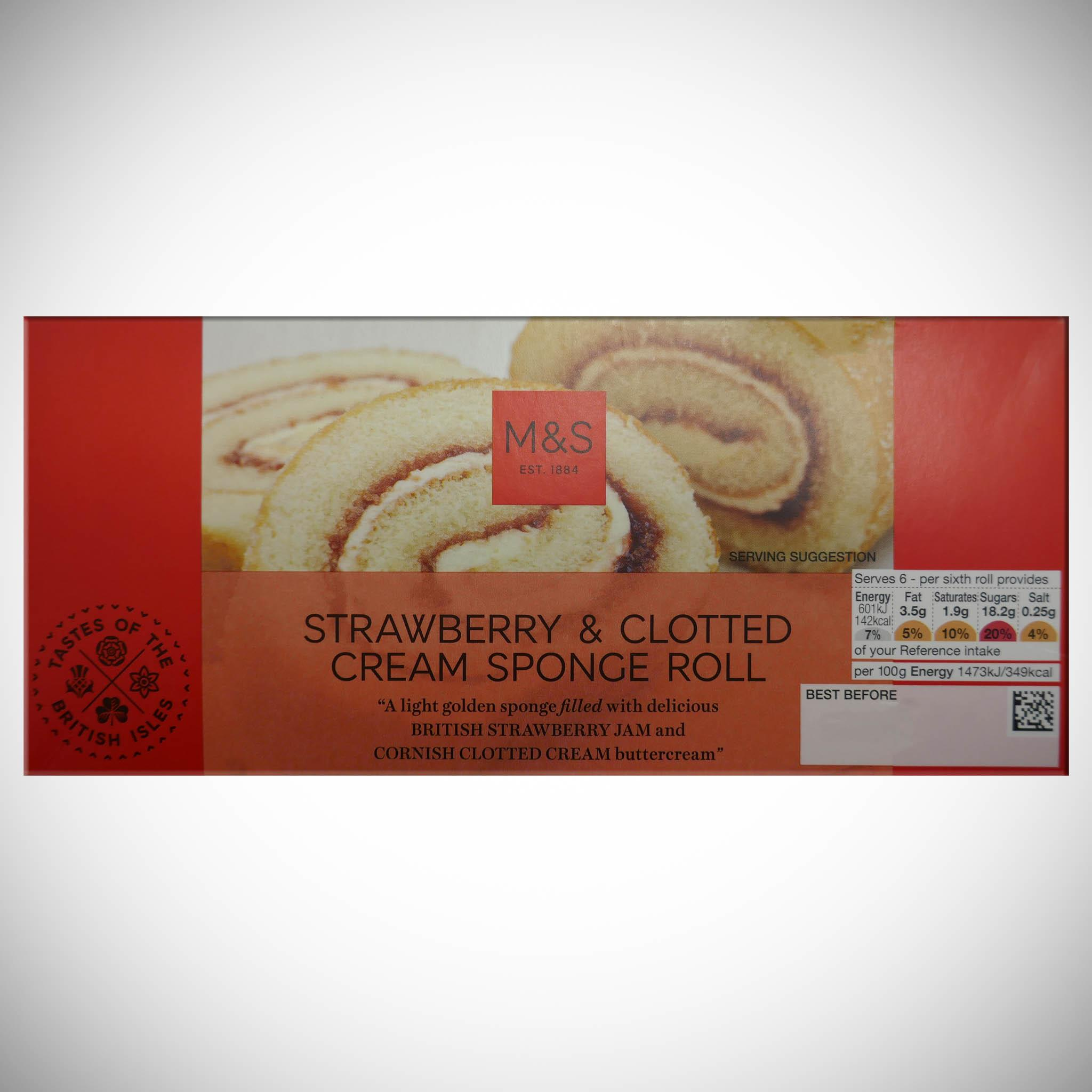 Strawberry & Clotted Cream Sponge Roll 245g