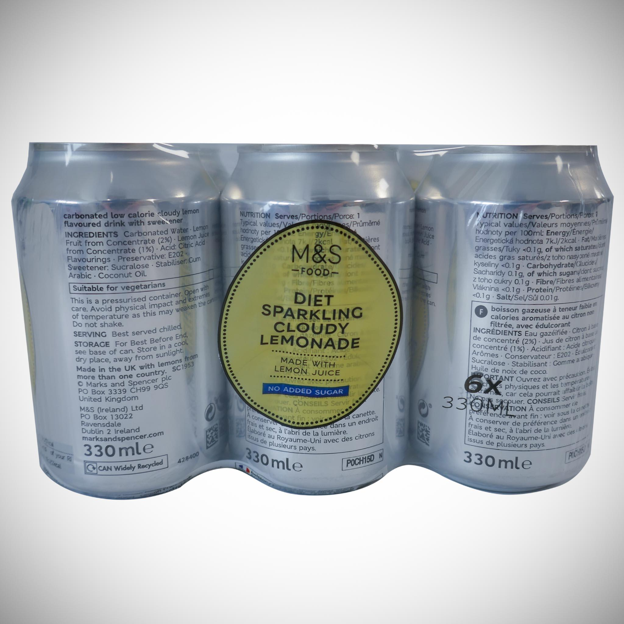 Diet Sparkling Cloudy Lemonade 6 x 330ml