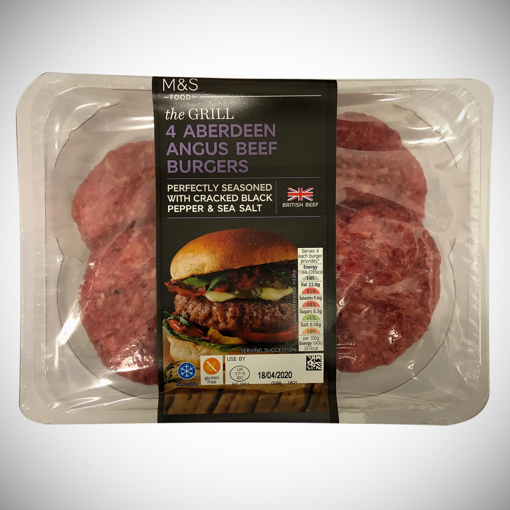 4 Aberdeen Angus Quarter Pound Steak Burgers 454g