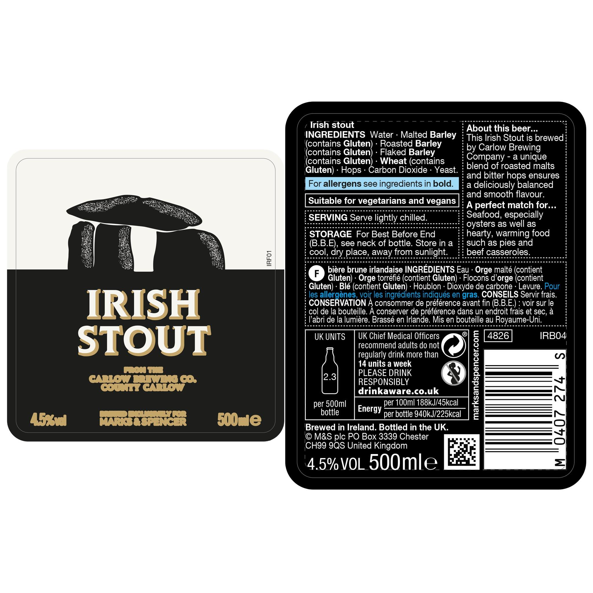 Irish Stout 500ml Label