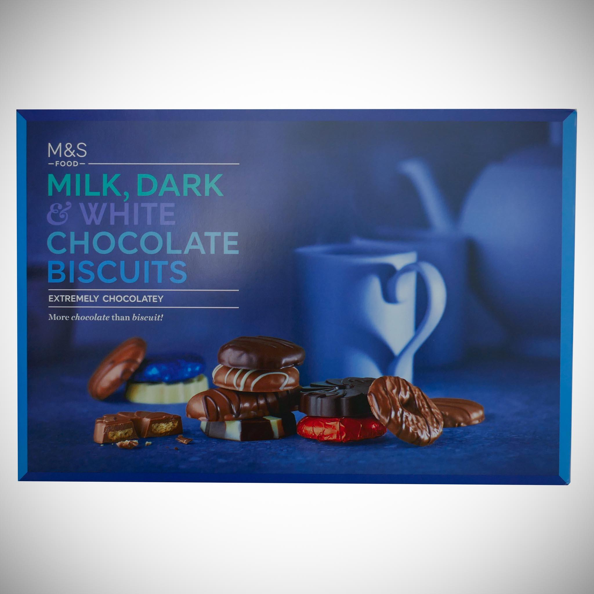 Milk, Dark & White Chocolate Biscuits 500g