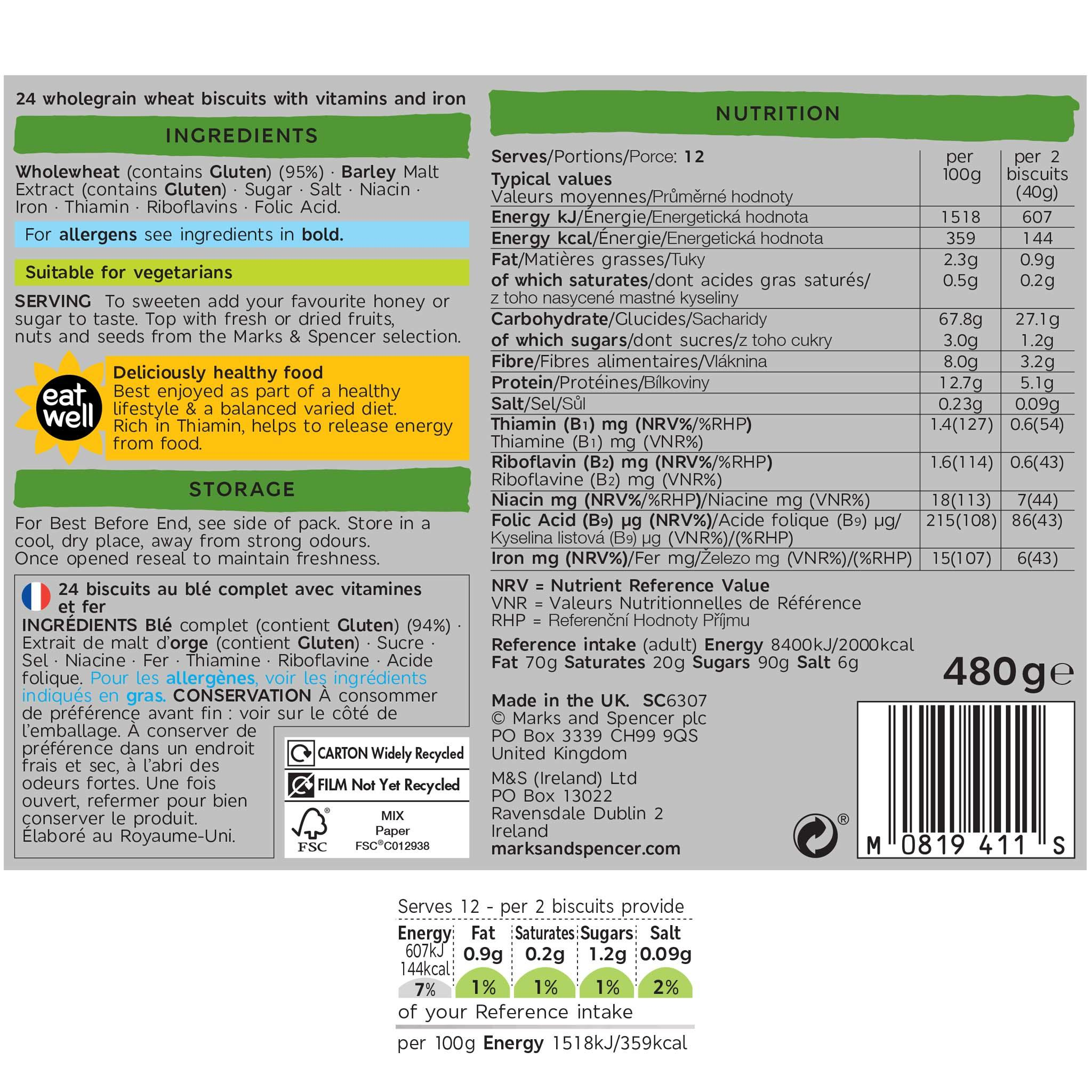 Wholegrain Wheat Bisks Label