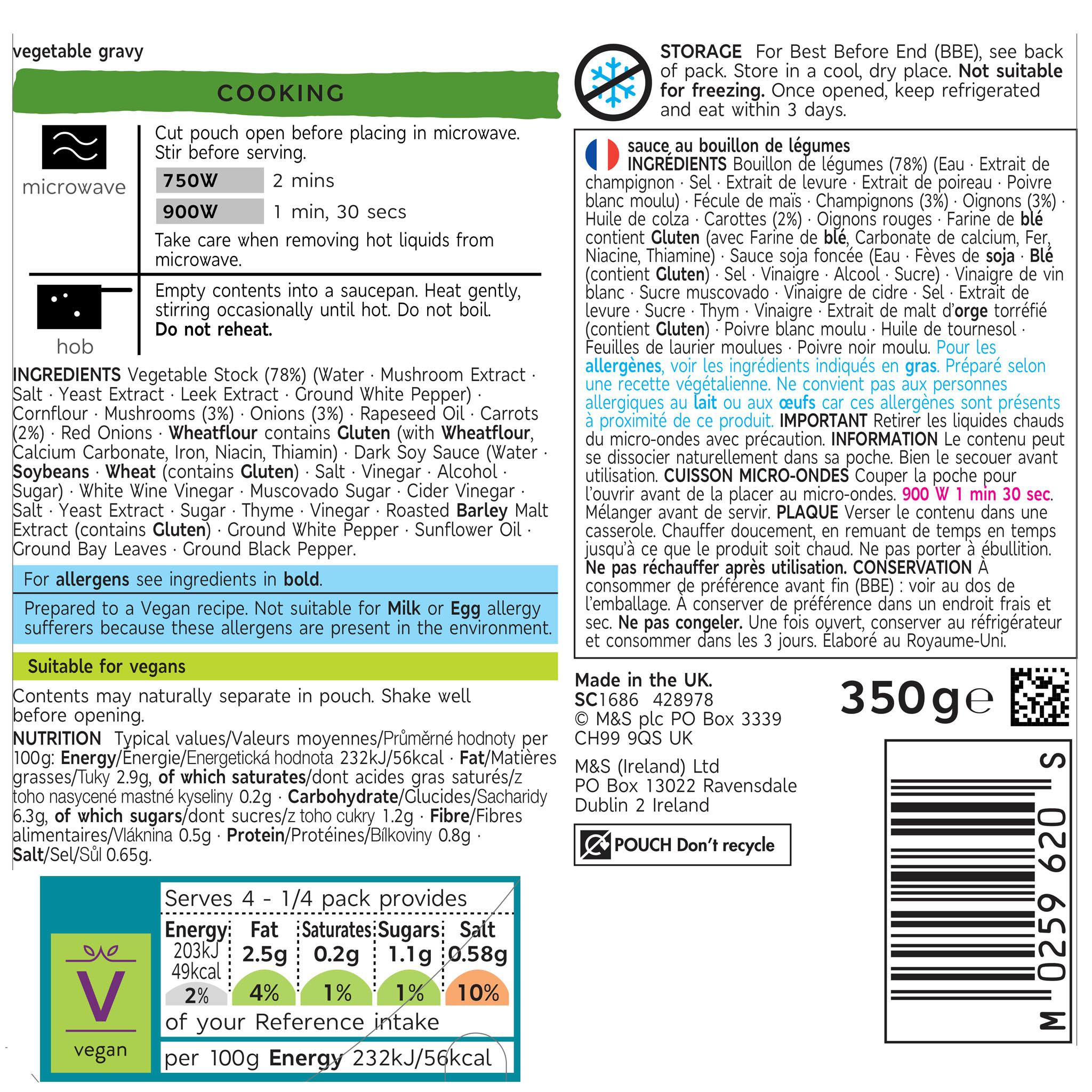 Plant Kitchen Vegetable Gravy 350g Label