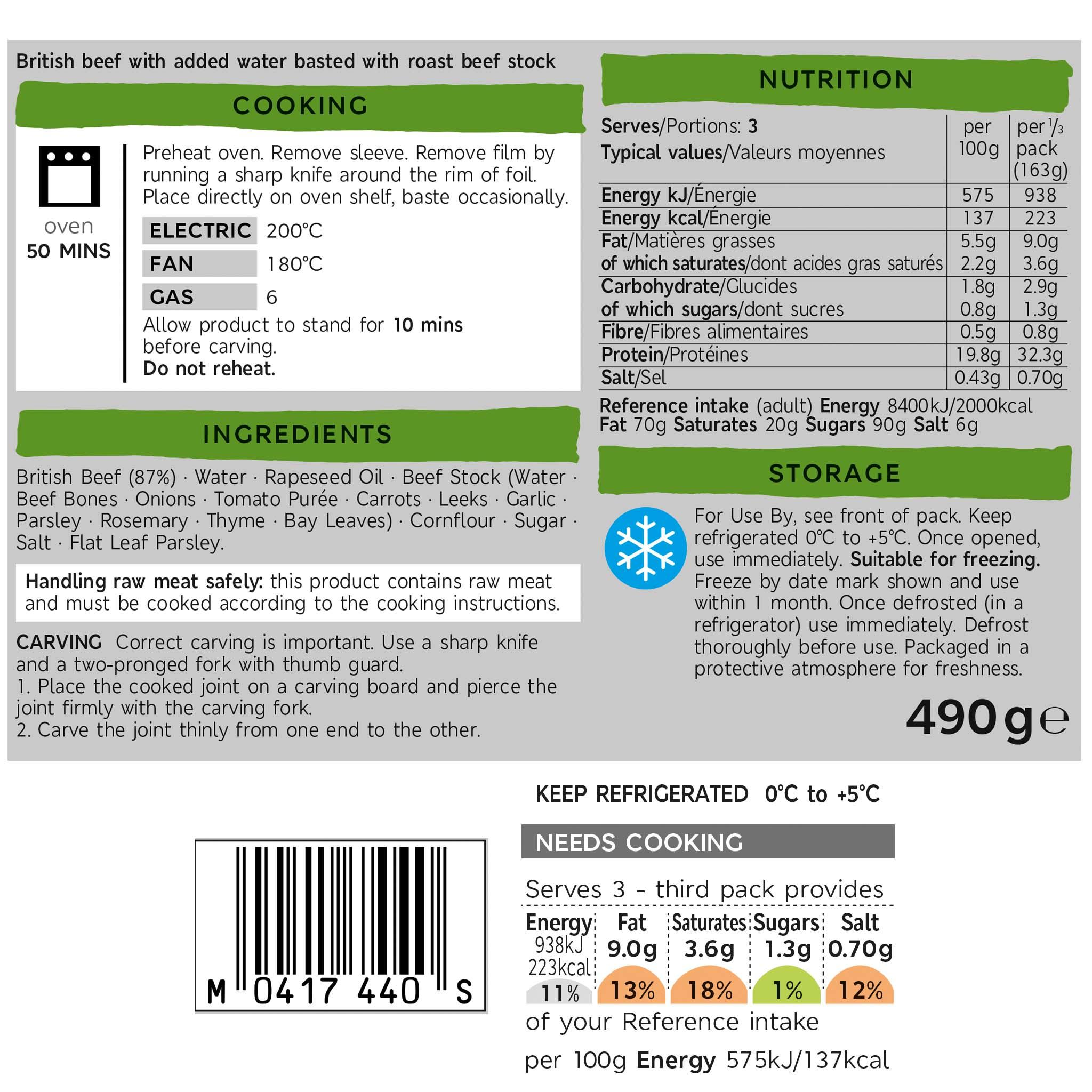 Beef Roasting Joint 490g Label