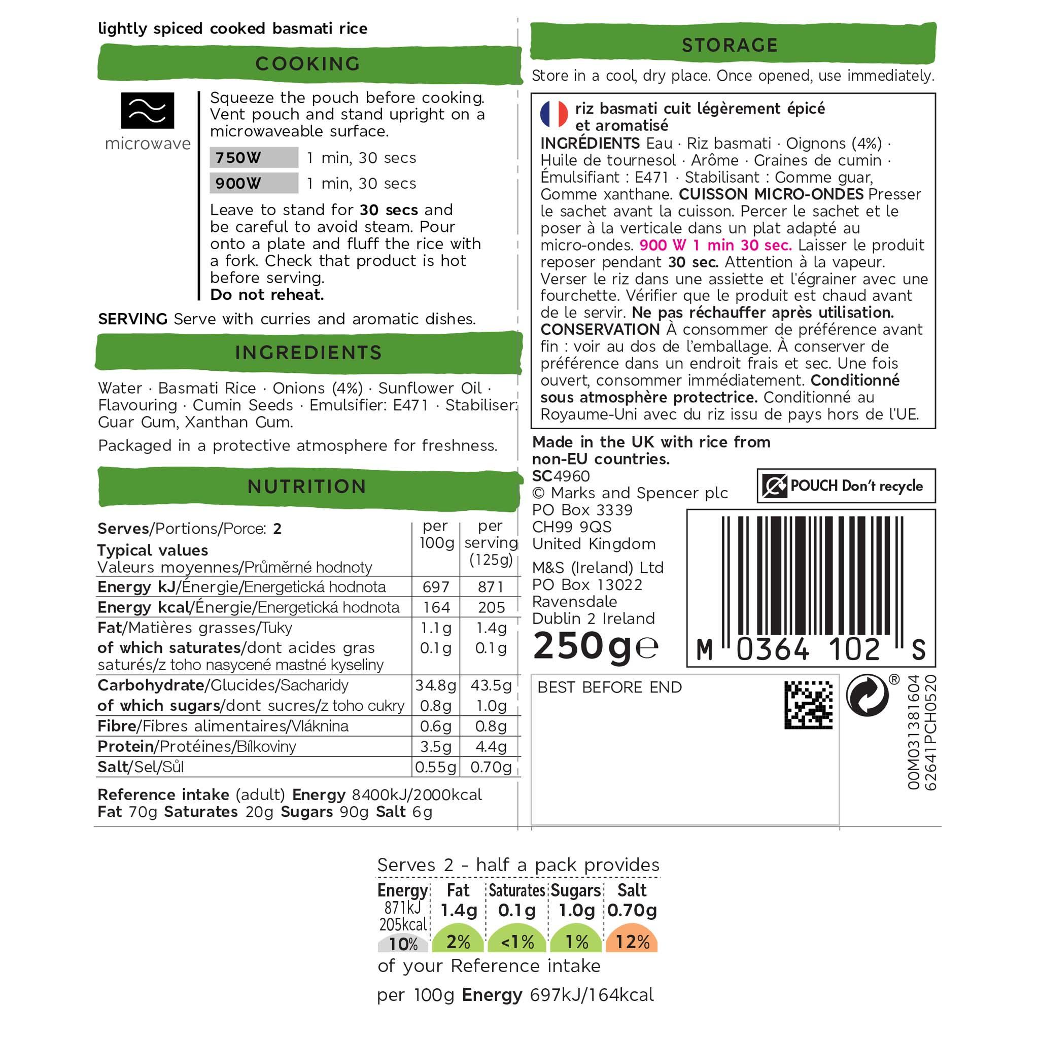 Microwaveable Pilau Rice 250g Label