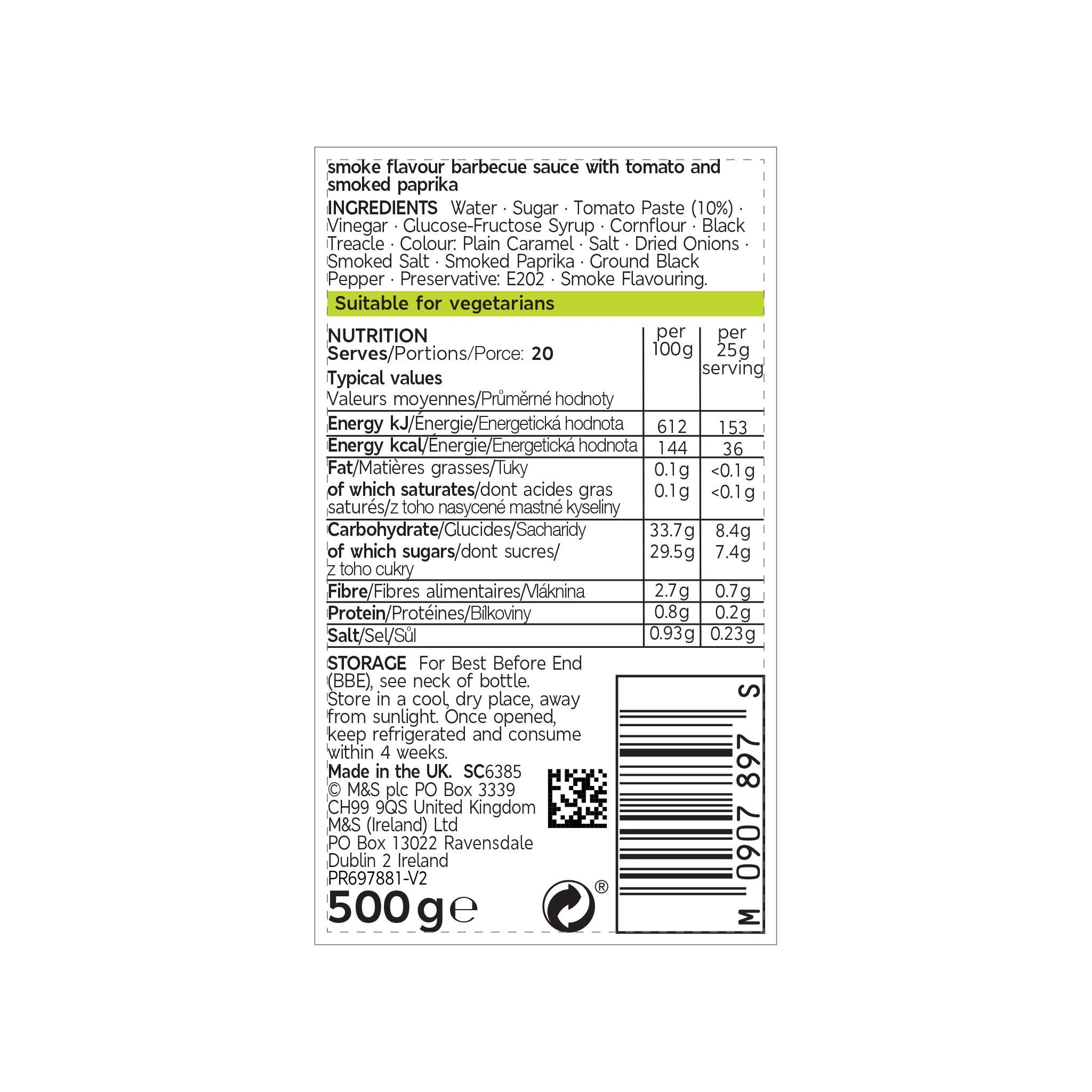 Barbecue Sauce 500g Label