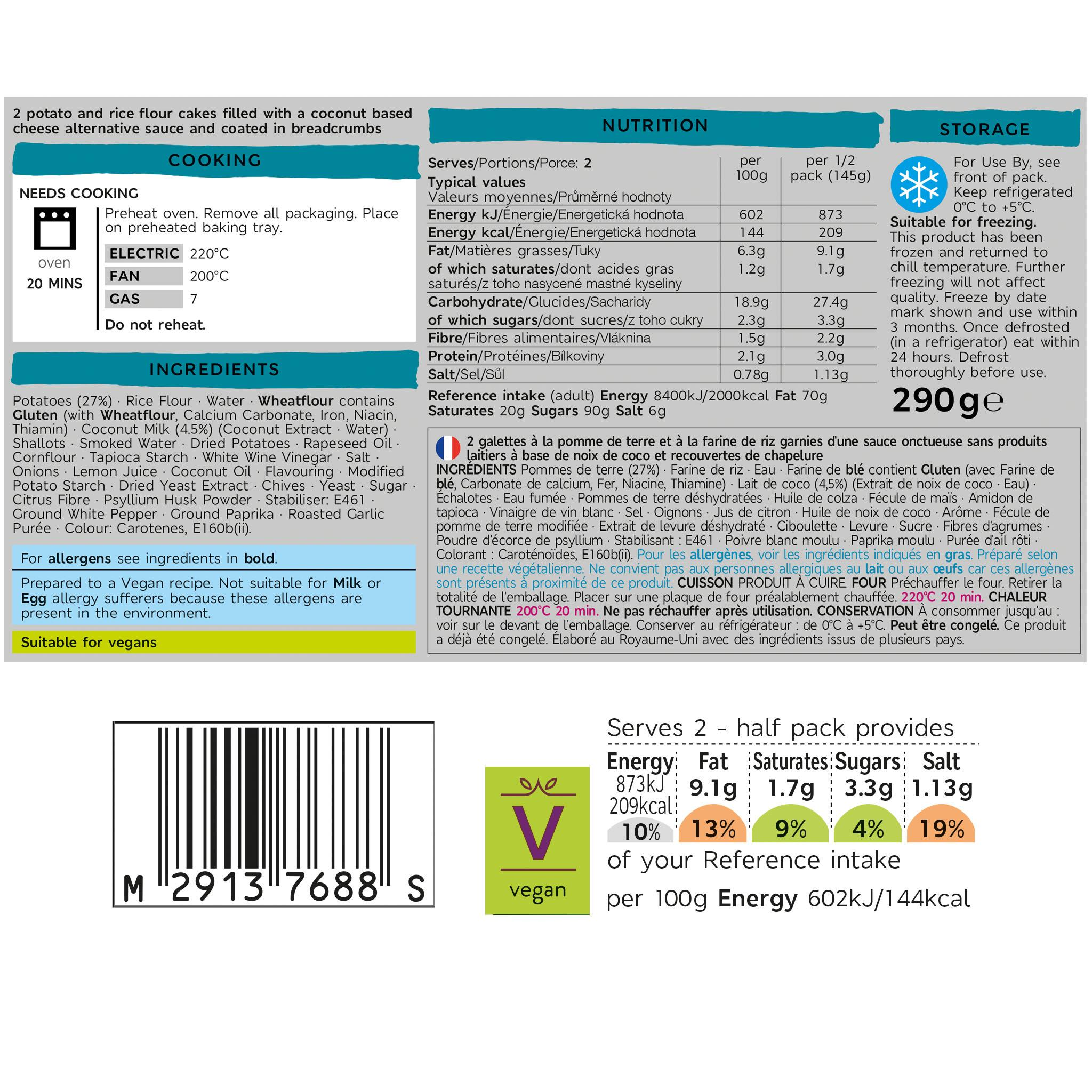 Plant Kitchen 2 Melt in the Middle No Fish Cakes 290g Label