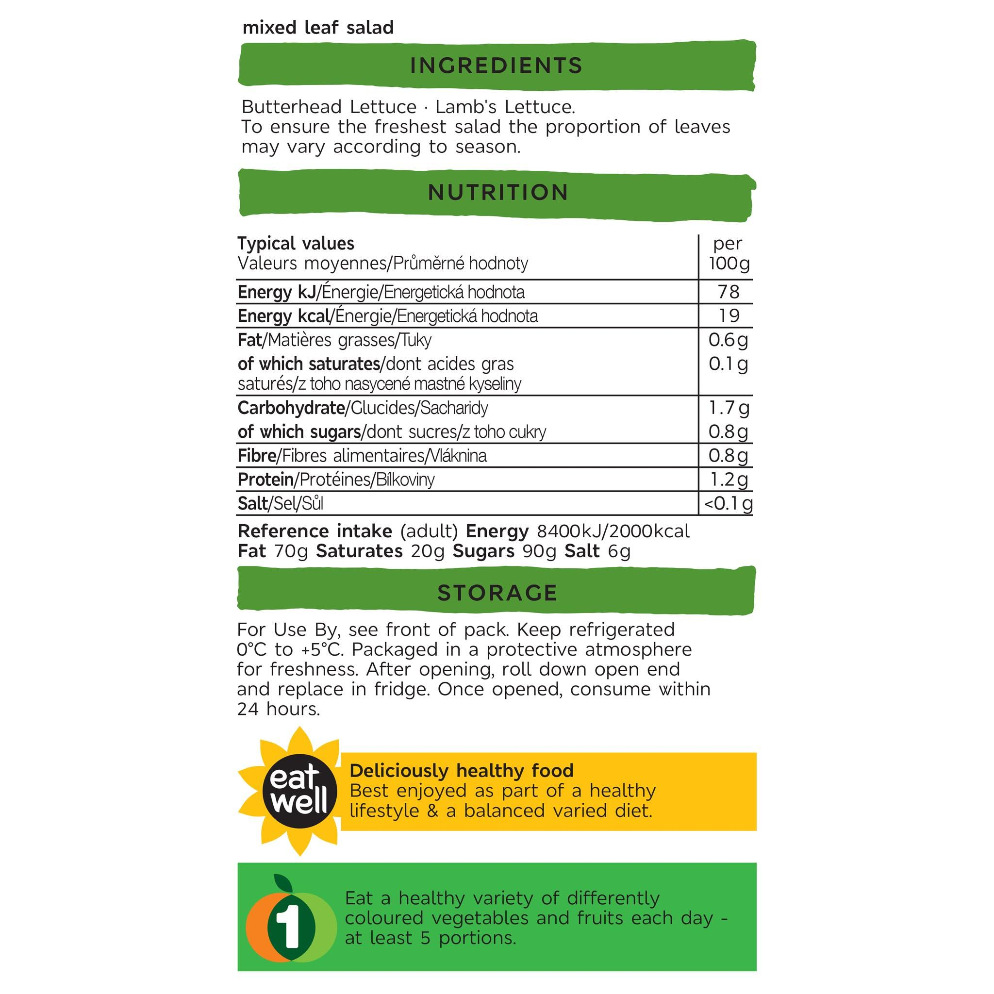Rosa Verde Salad 120g Label