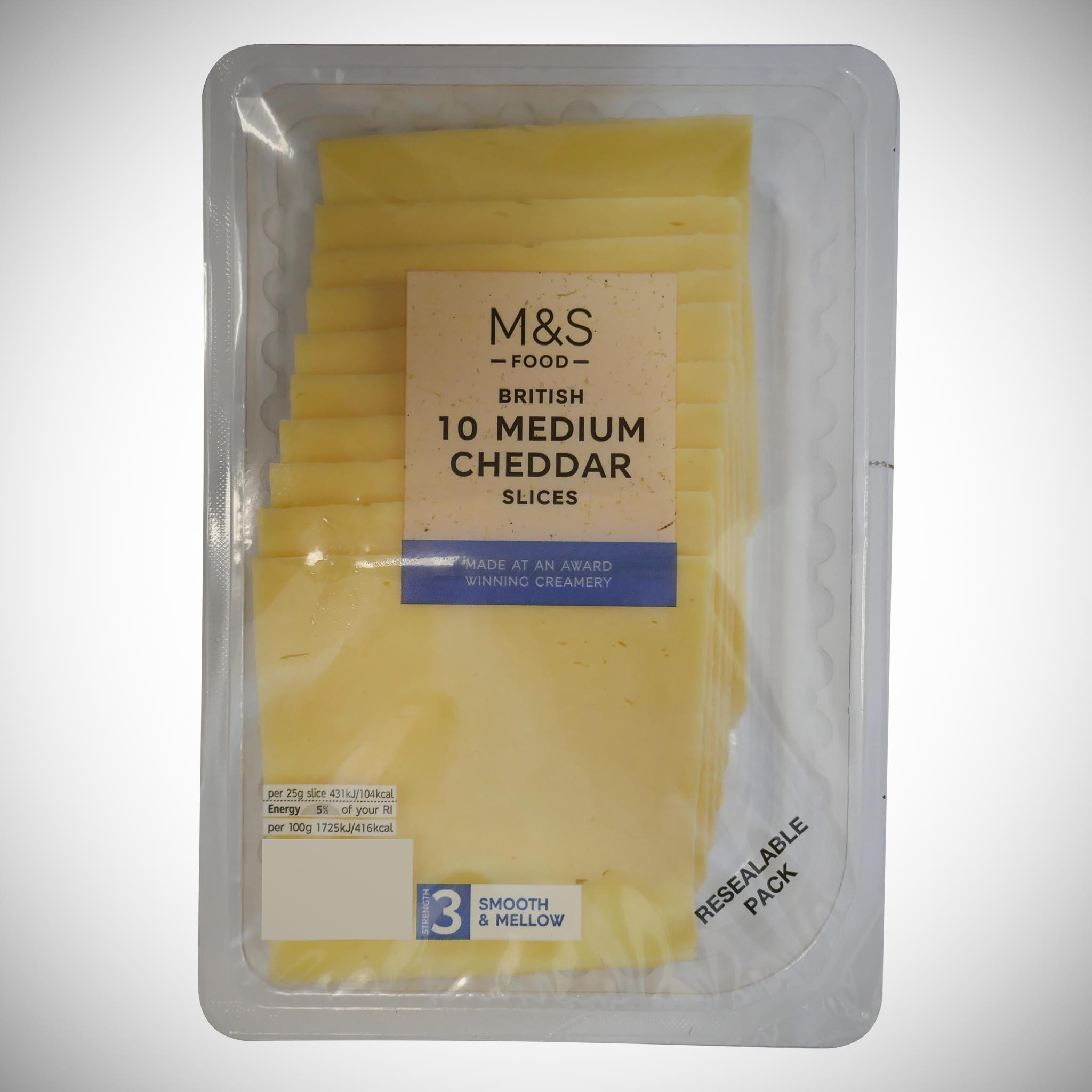 British 10 Medium Cheddar Slices 250g