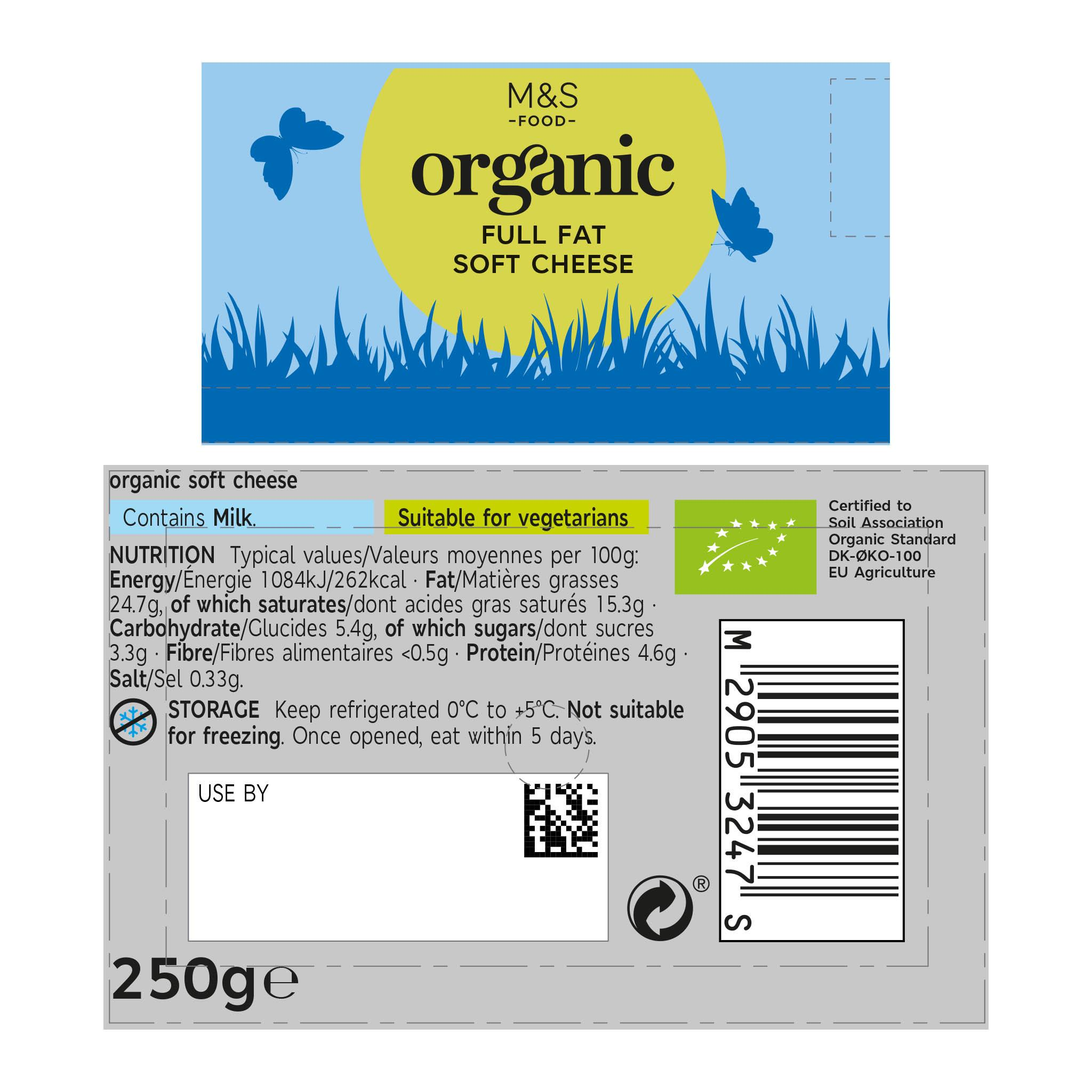 Organic Full Fat Soft Cheese 250g Label