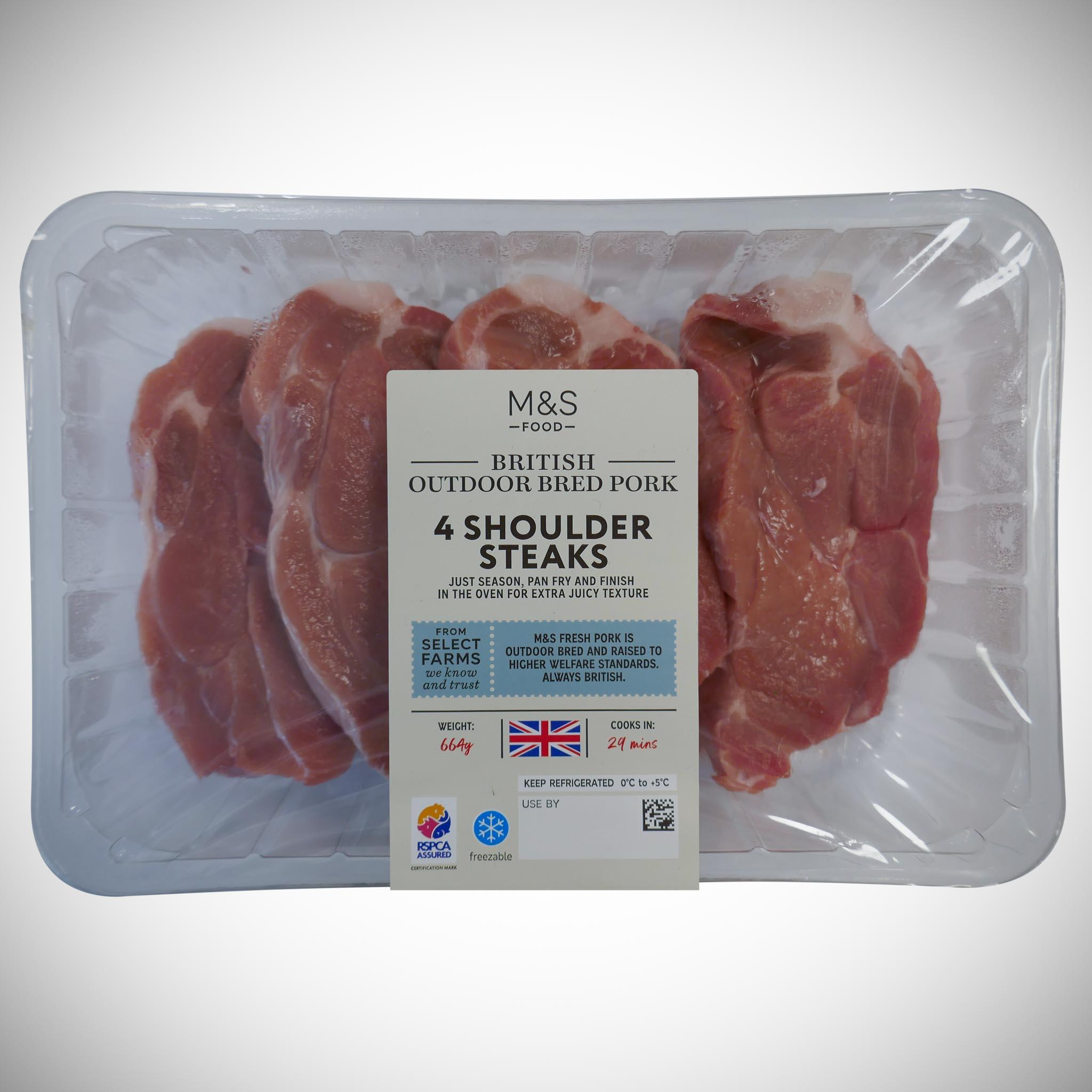 British Pork Shoulder Steaks 664g