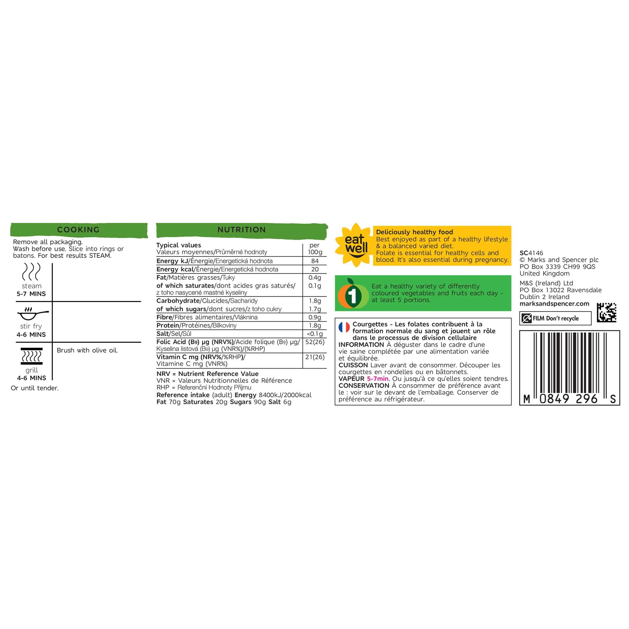 Courgettes 325g Label