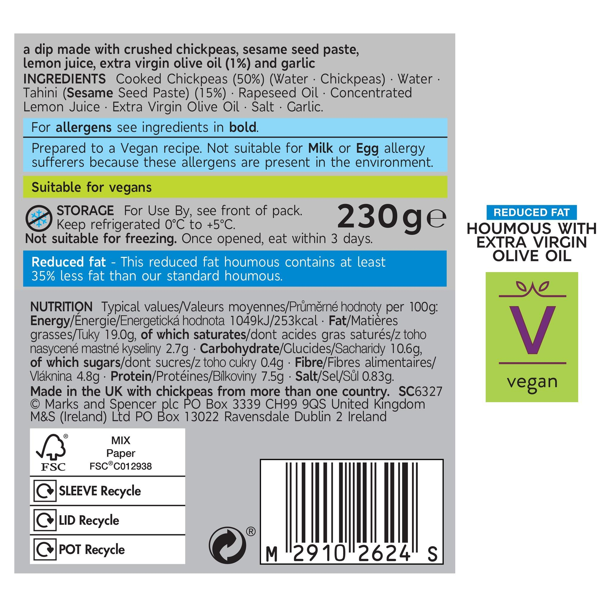 Reduced Fat Extra Virgin Olive Oil Houmous Label