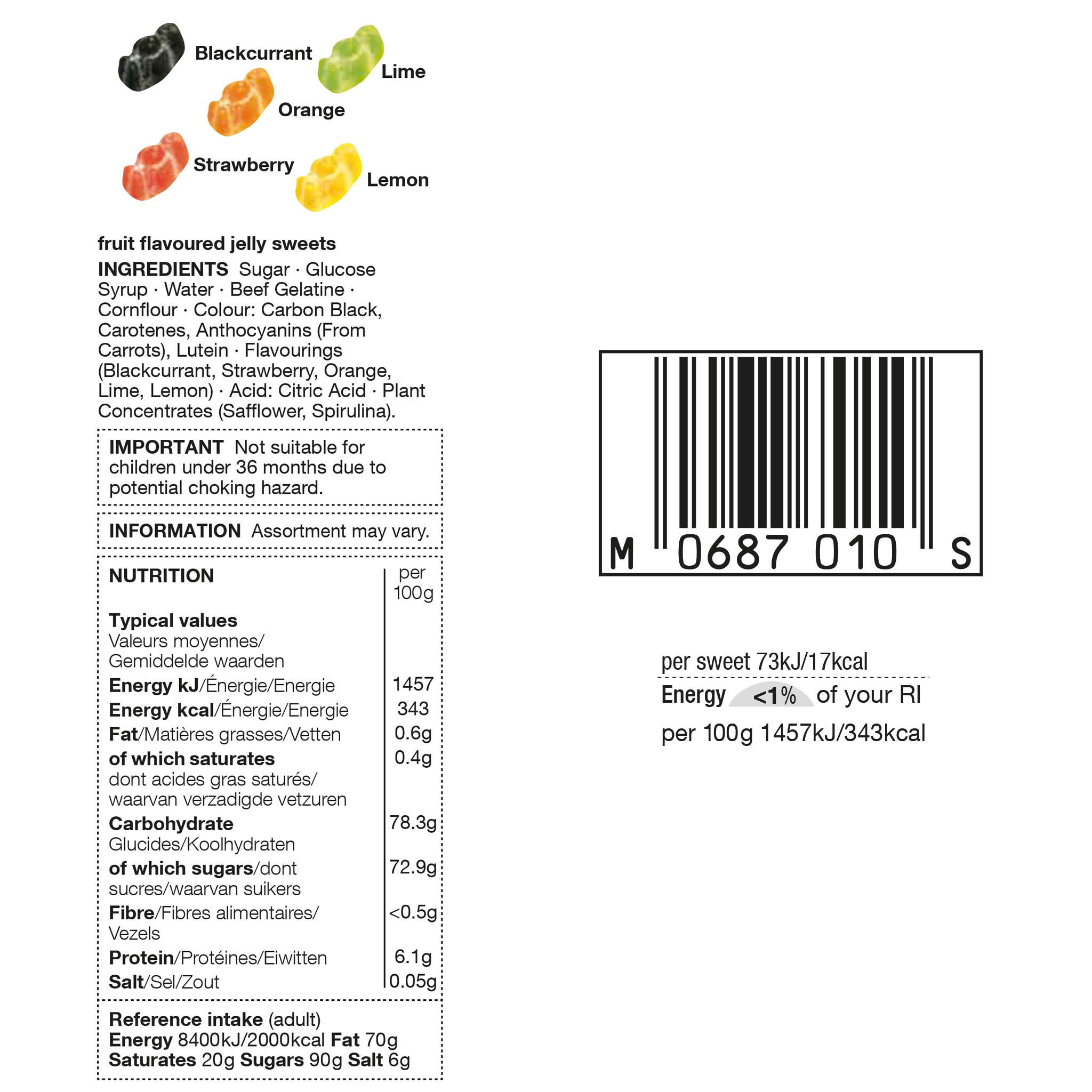 Jelly Babies 225g Label