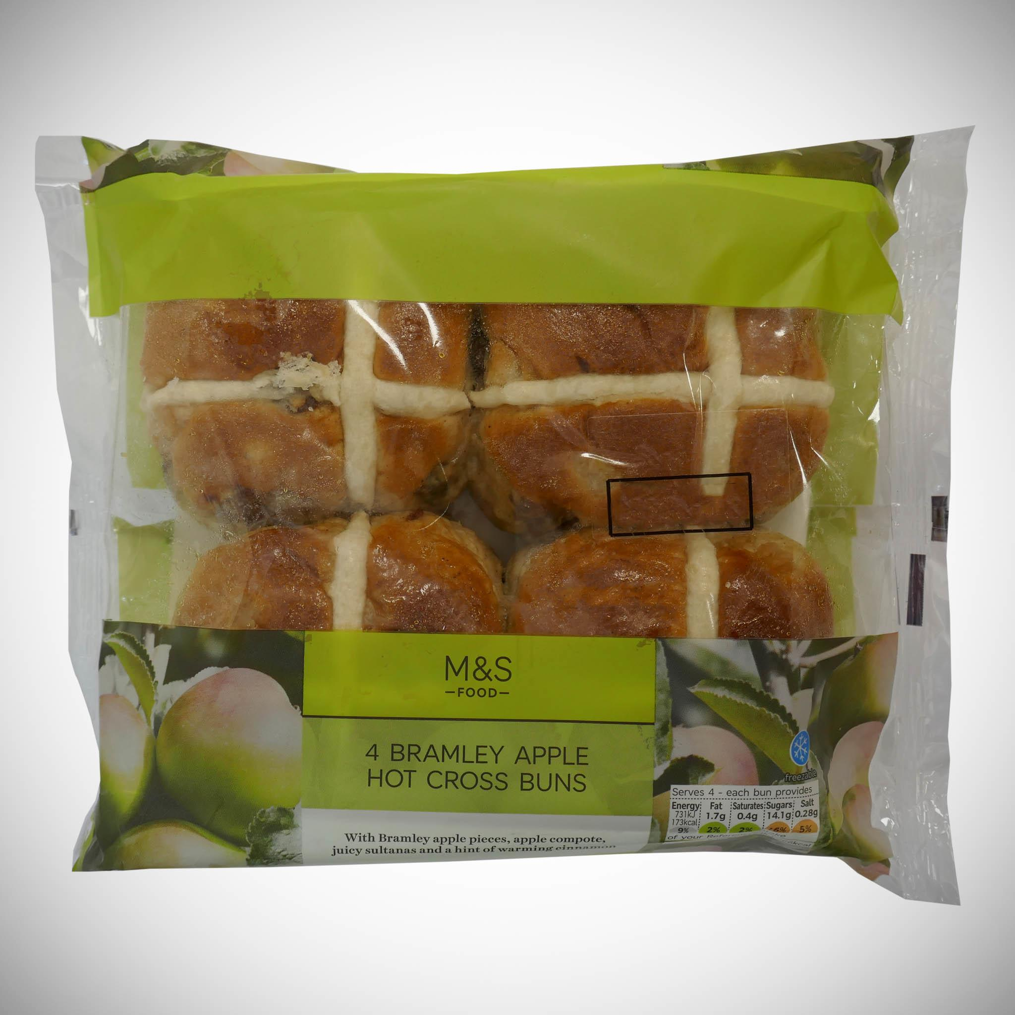 Kentish Bramley Apple Hot Cross Buns x 4