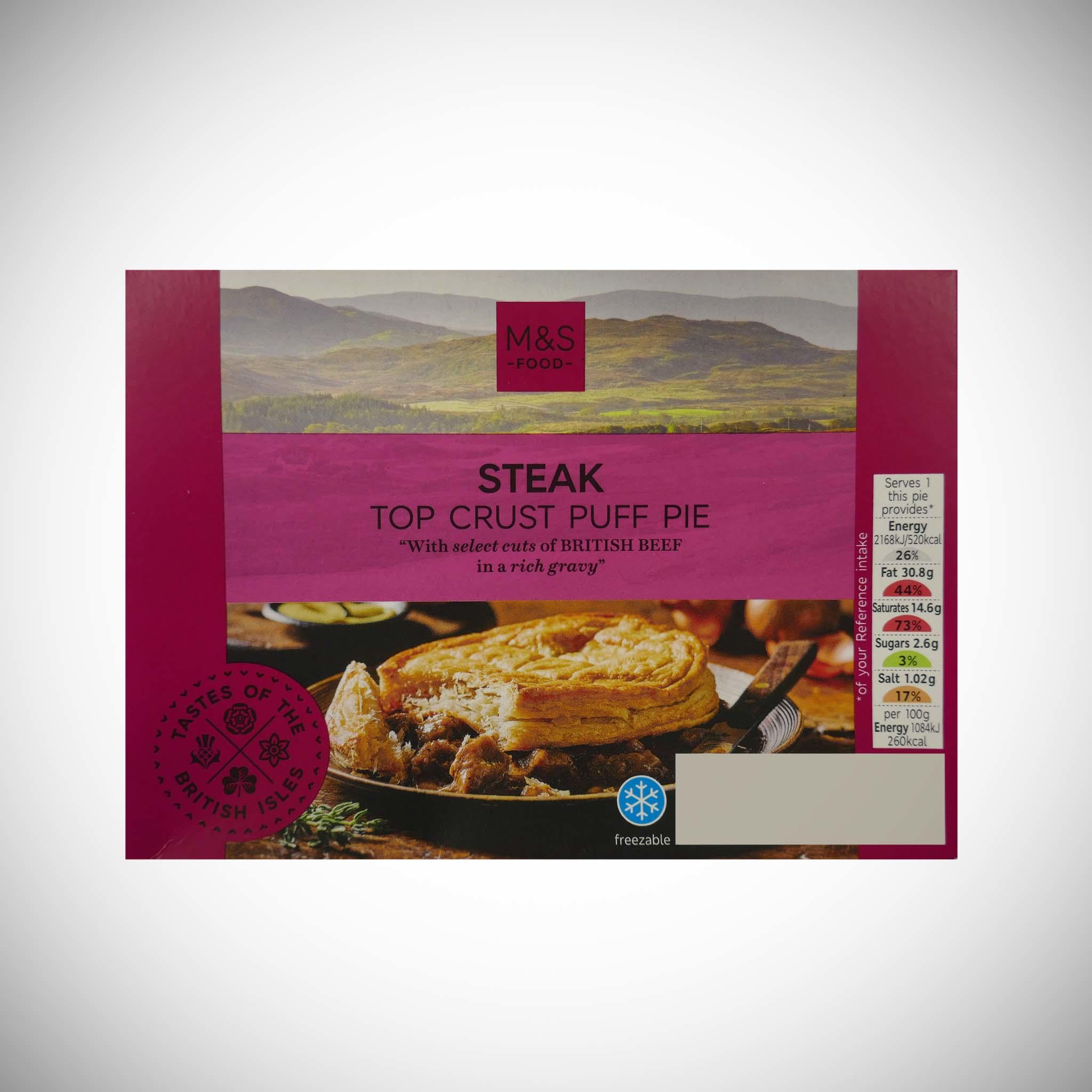Steak Pie with a Top Crust Puff Pastry 200g