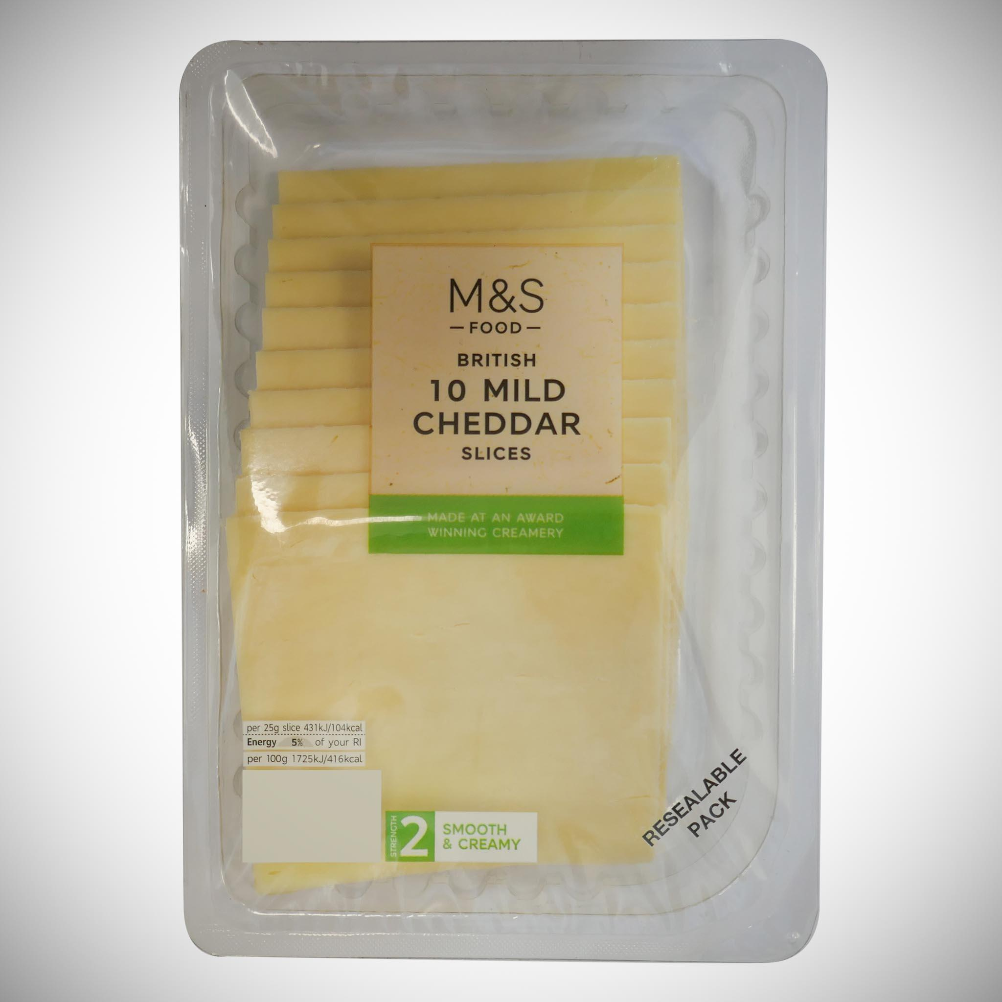 British 10 Mild Cheddar Slices 250g