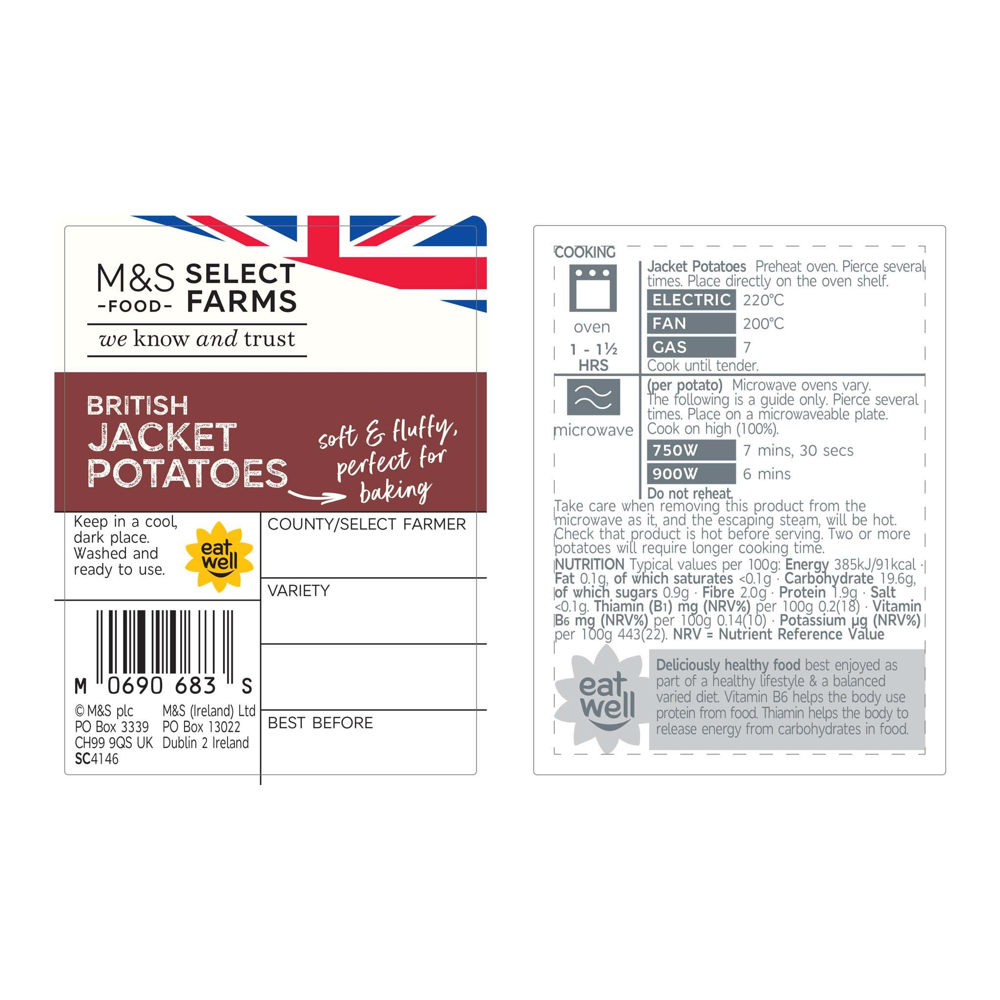4 Jacket Potatoes 700g Label