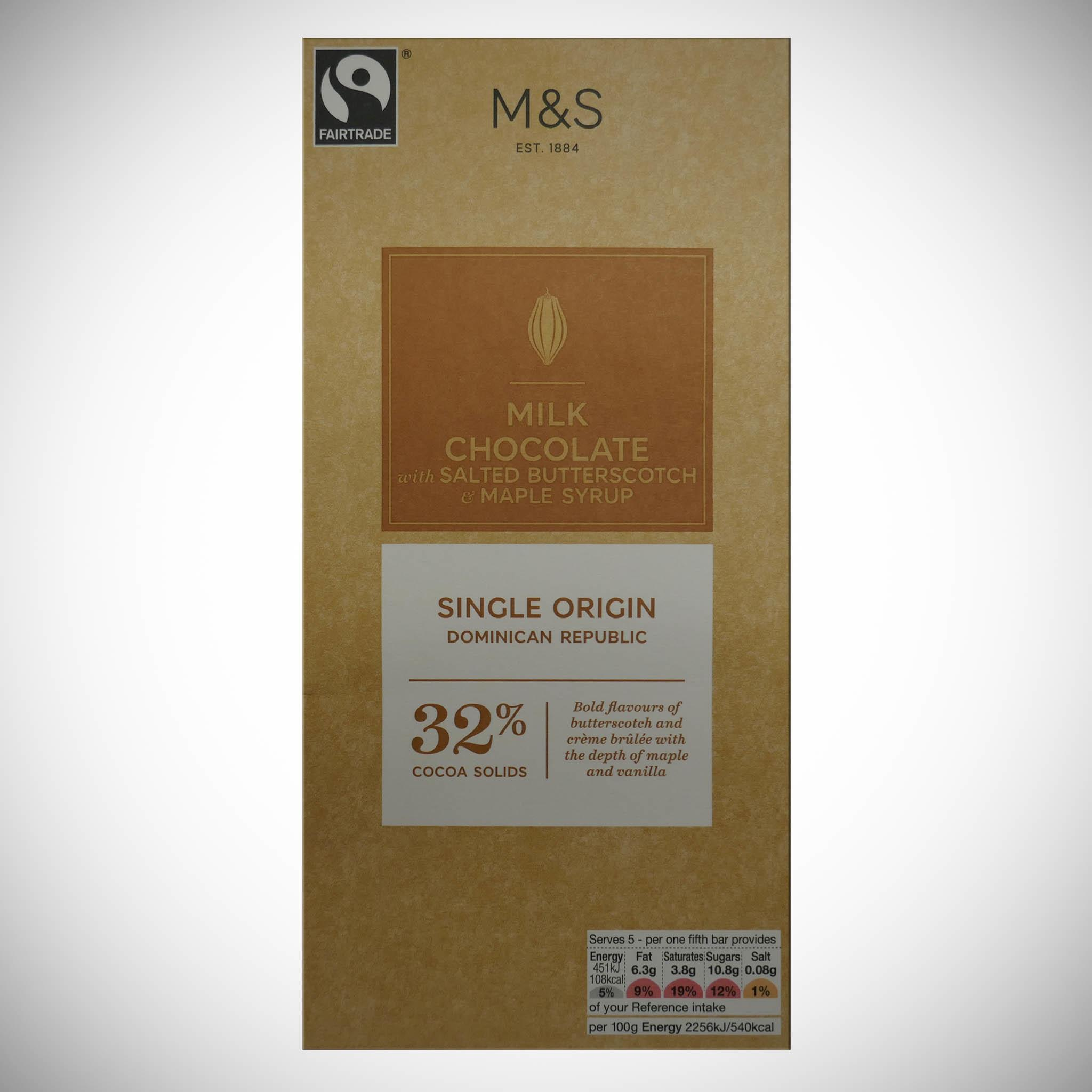 Milk Chocolate with Salted Butterscotch & Maple Syrup 100g