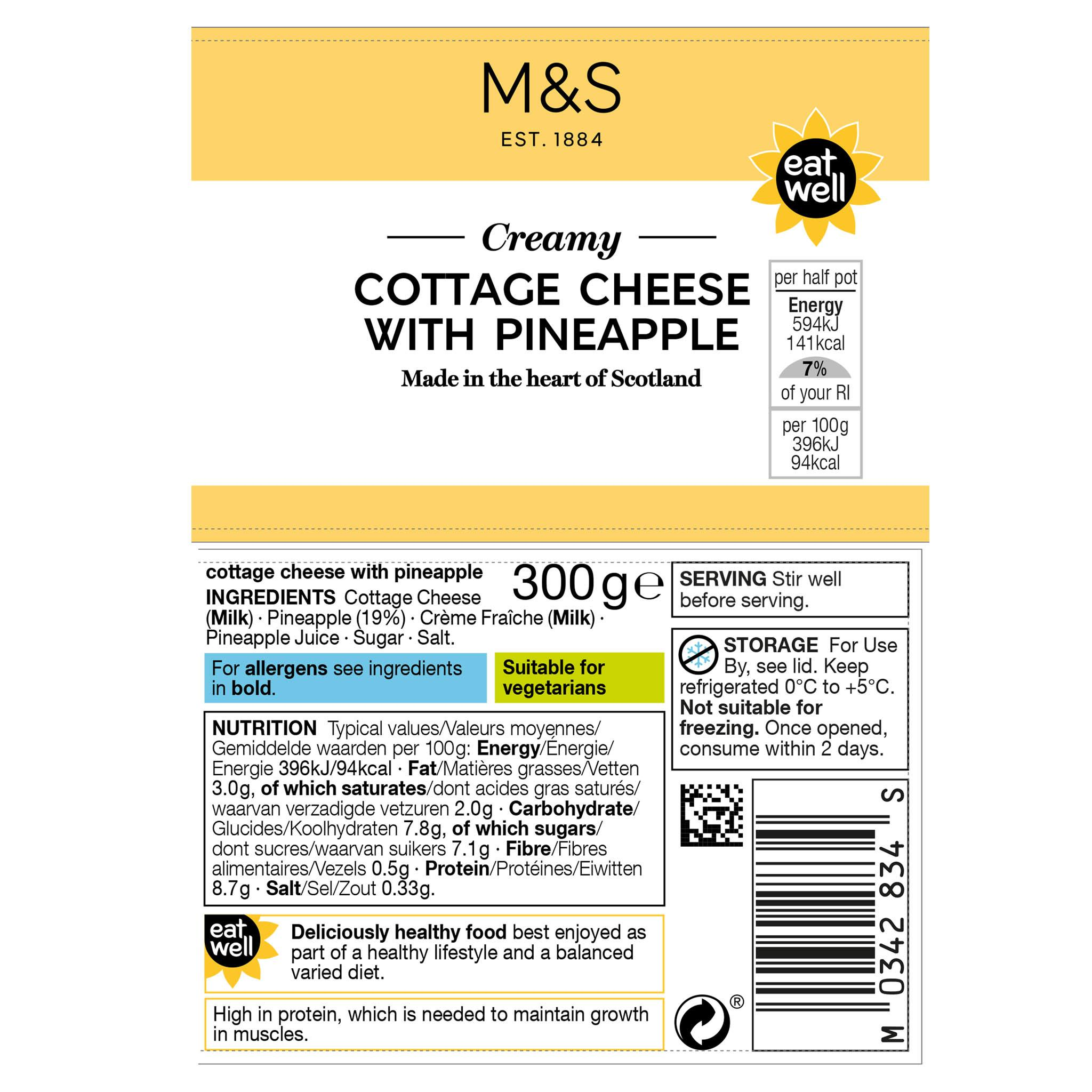 Cottage Cheese with Pineapple 300g Label
