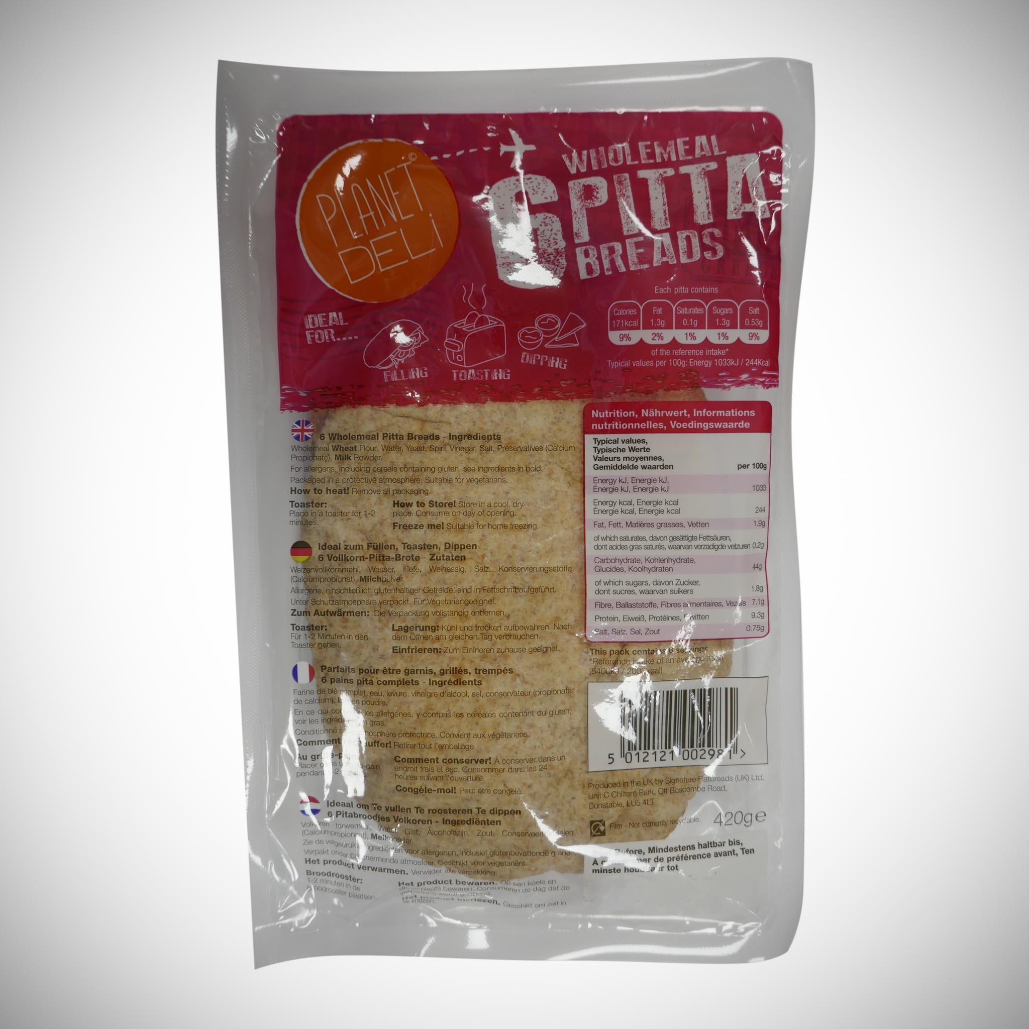 Planet Deli Wholemeal Pitta x 6