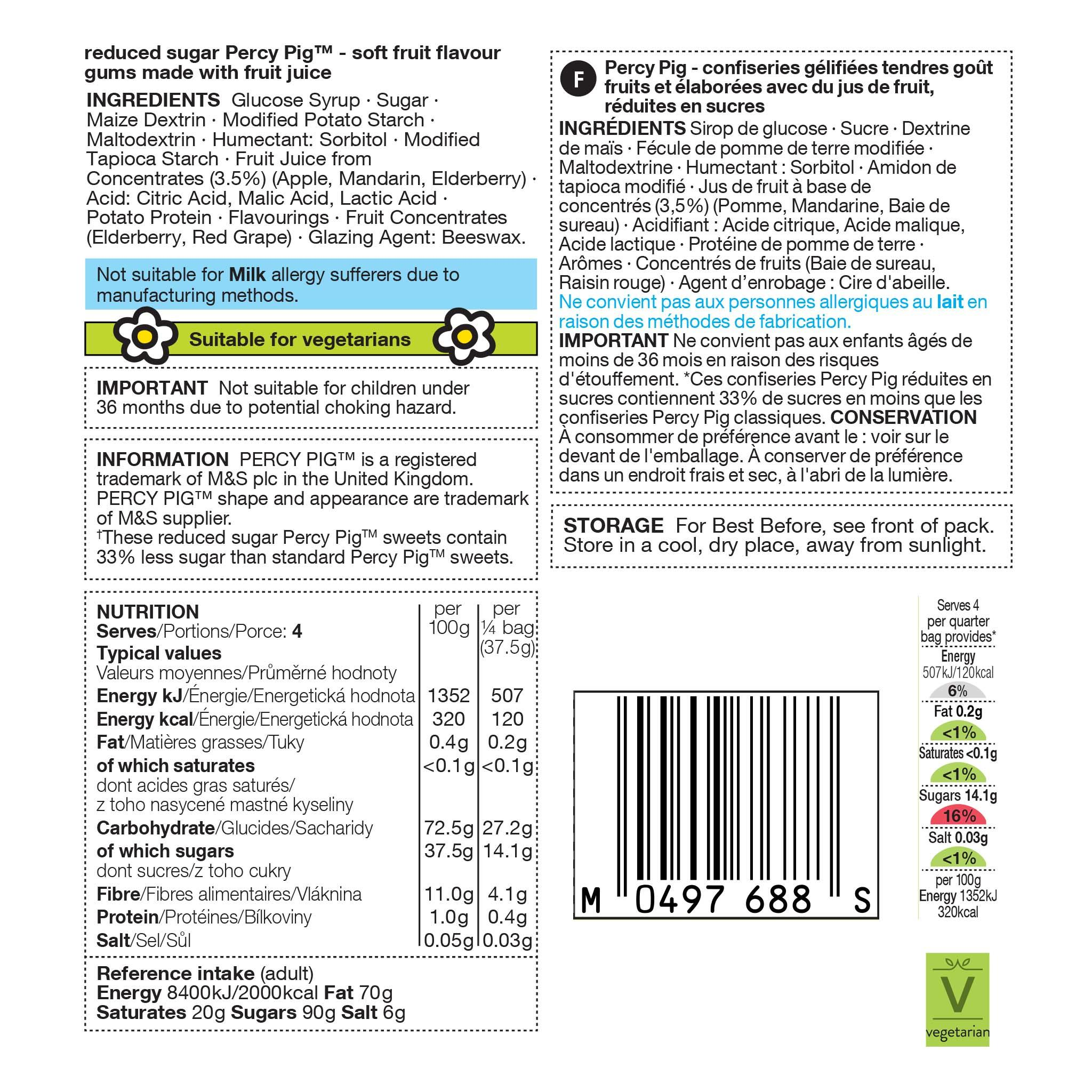 Reduced Sugar Percy 150g Label