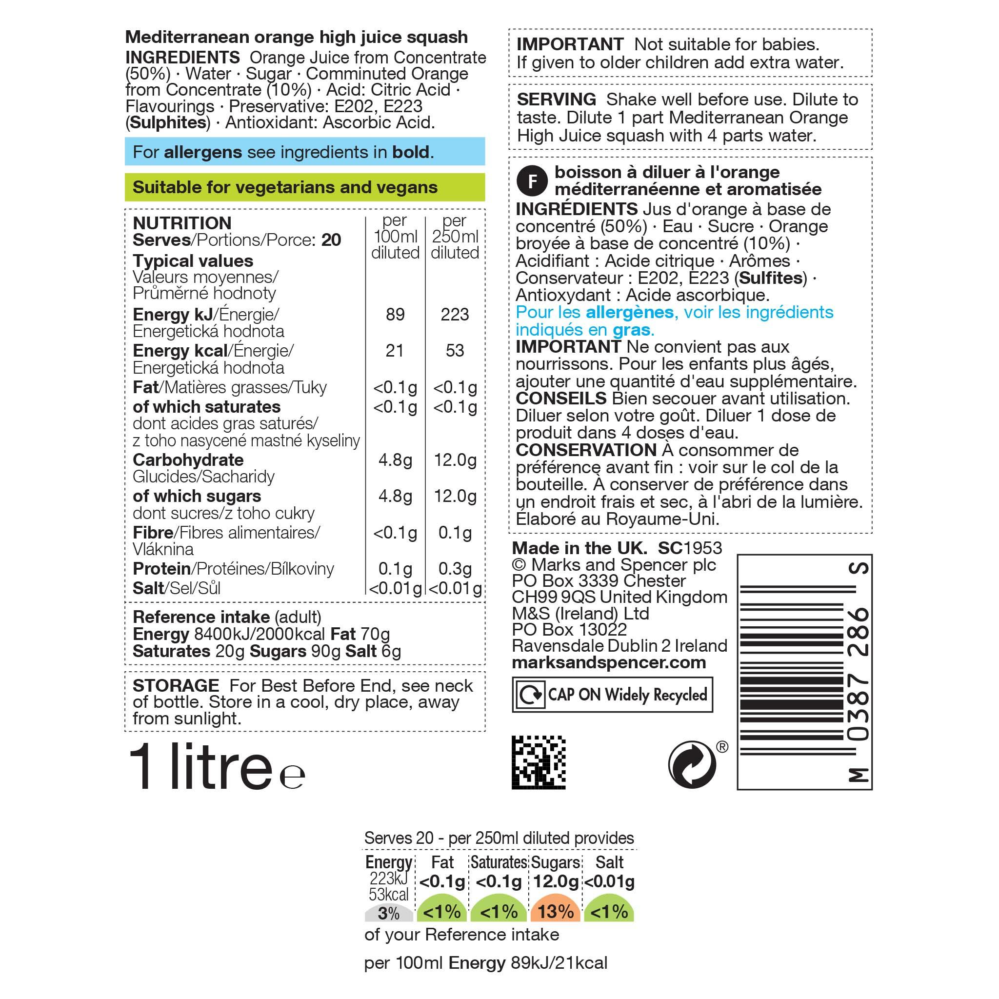 Mediterranean Orange High Juice 1l Label