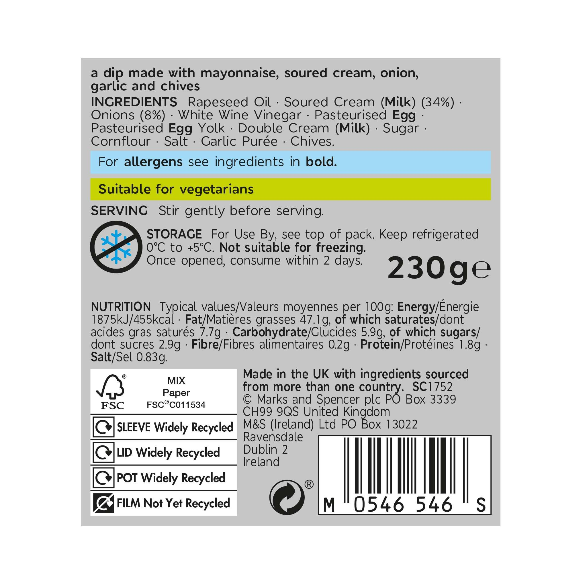 Onion & Garlic Dip 230g Label