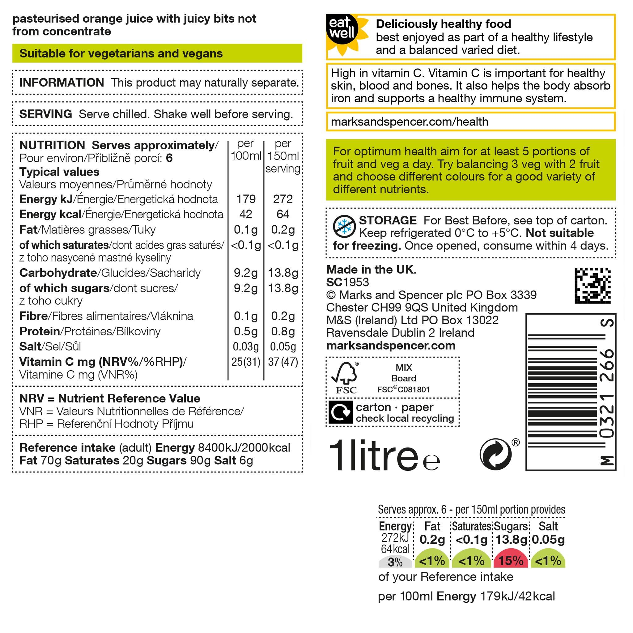 Pure Squeezed Orange Juice with Juicy Bits (Never From Concentrate) 1 Litre Label