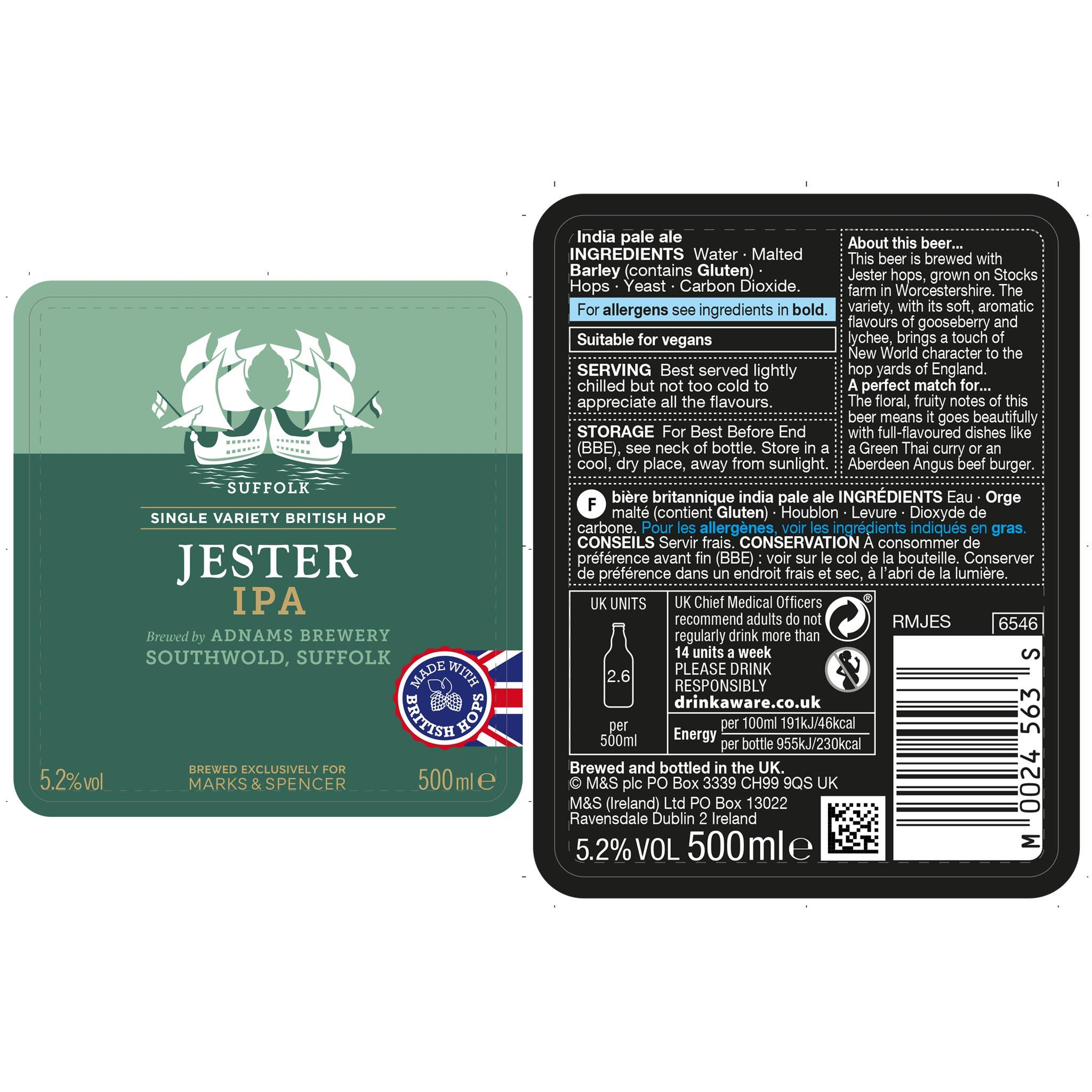 Jester India Pale Ale 500ml Label