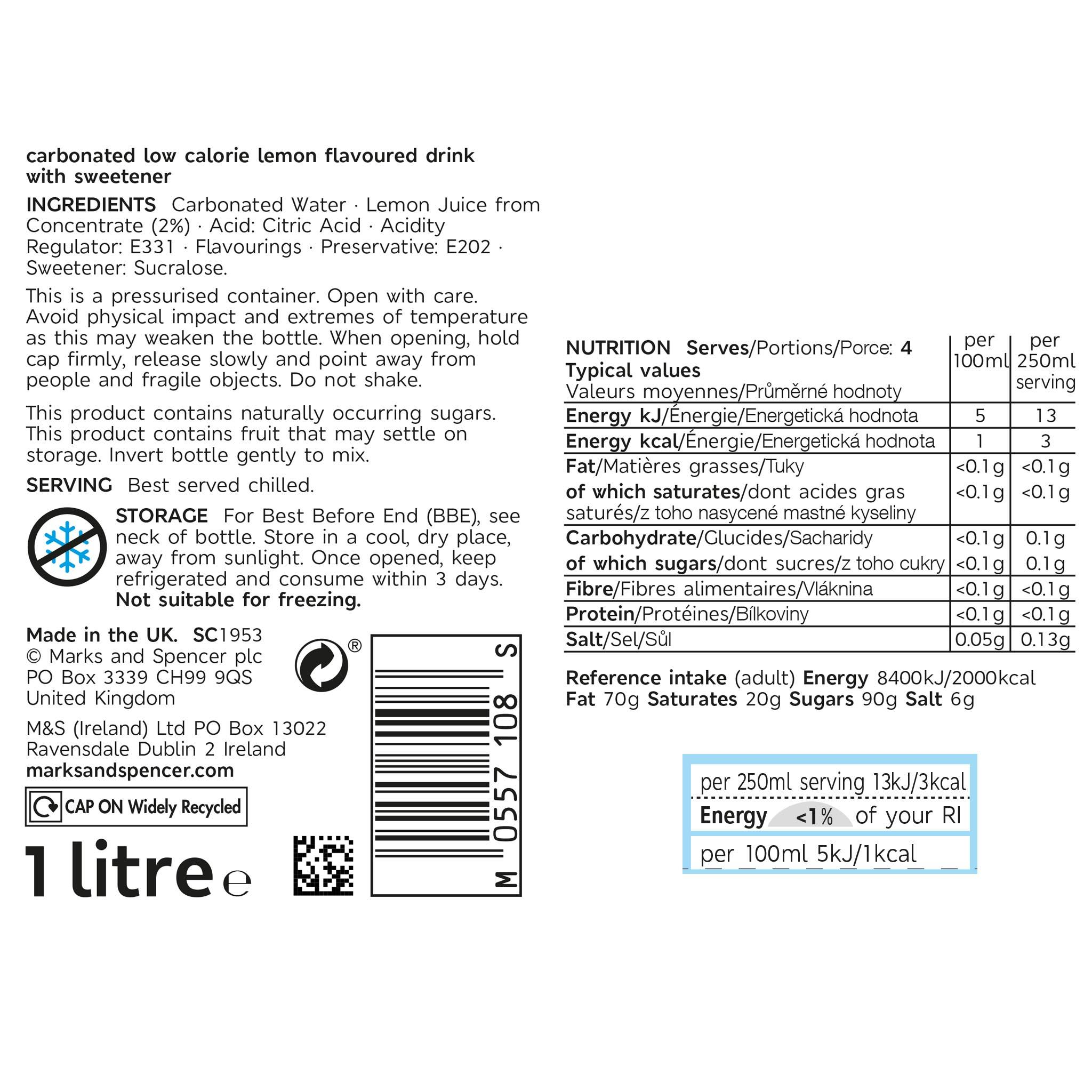 Diet Lemonade 1 litre Label