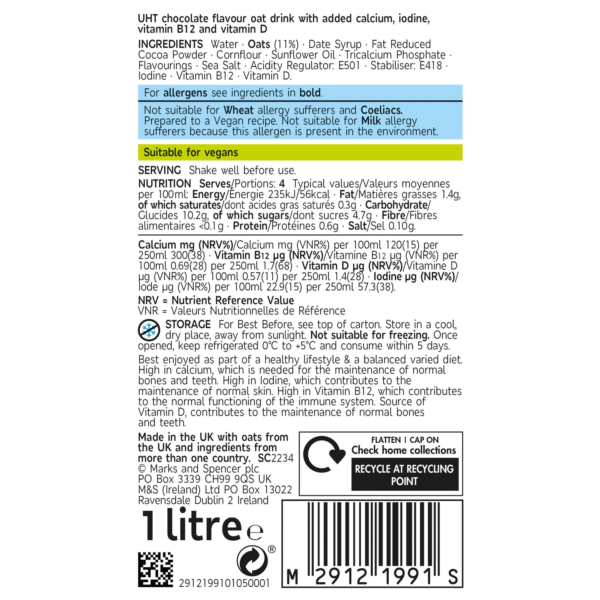 Plant Kitchen Chocolate Oat Drink 1 litre Label