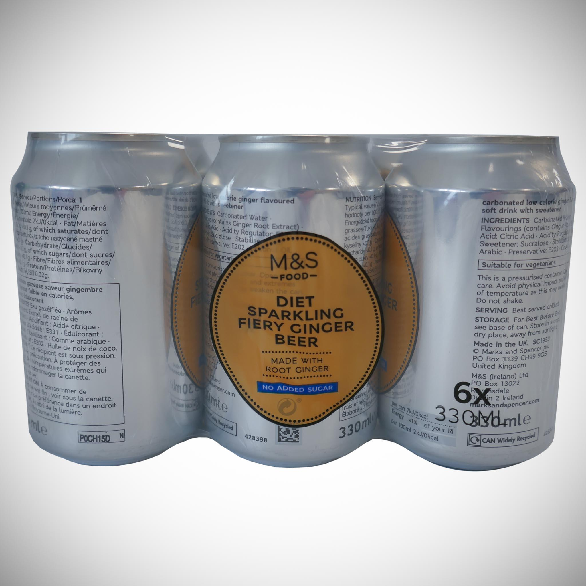 Diet Sparkling Fiery Ginger Beer 6 x 330ml