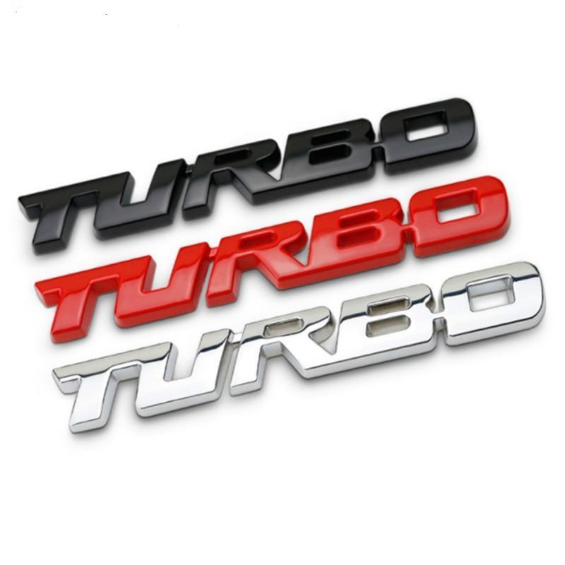 Black, red and silver turbo badges