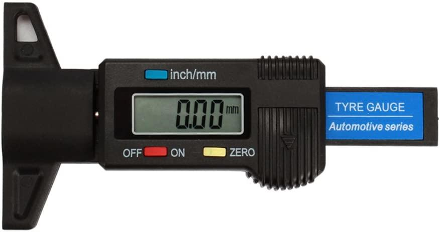 Digital tyre tread depth gauge close up