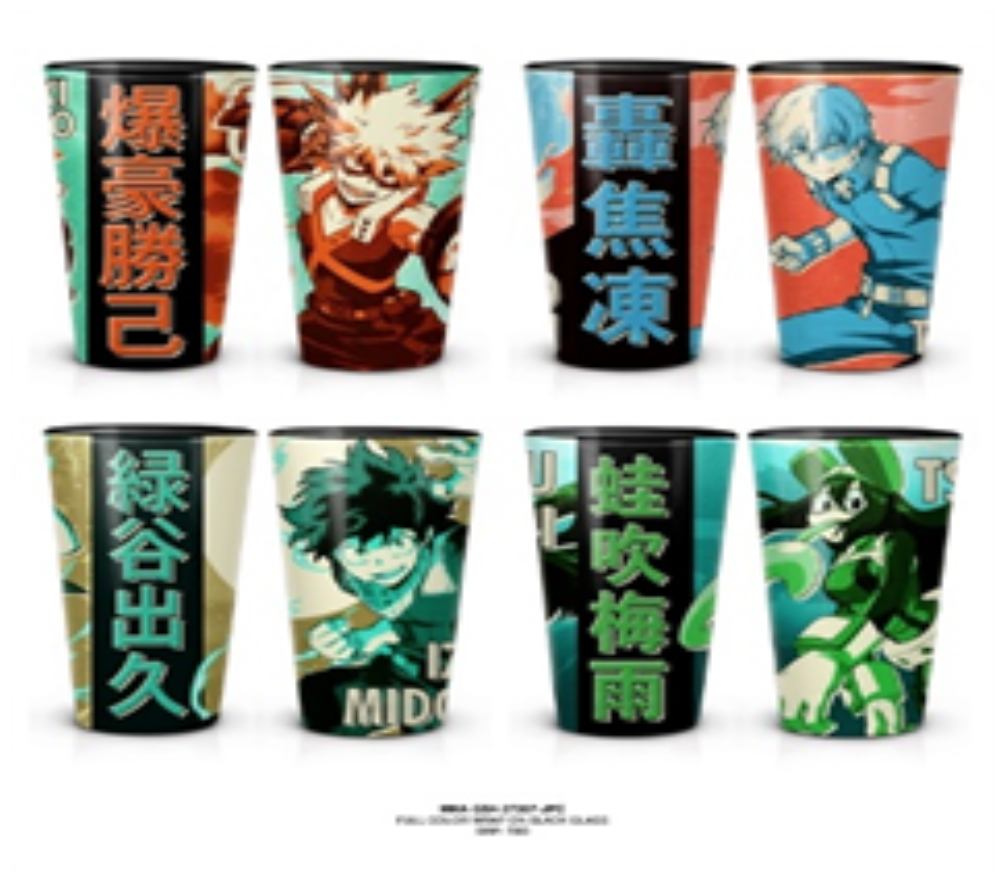 My Hero Academia Set of 4 Glasses with Print Decal