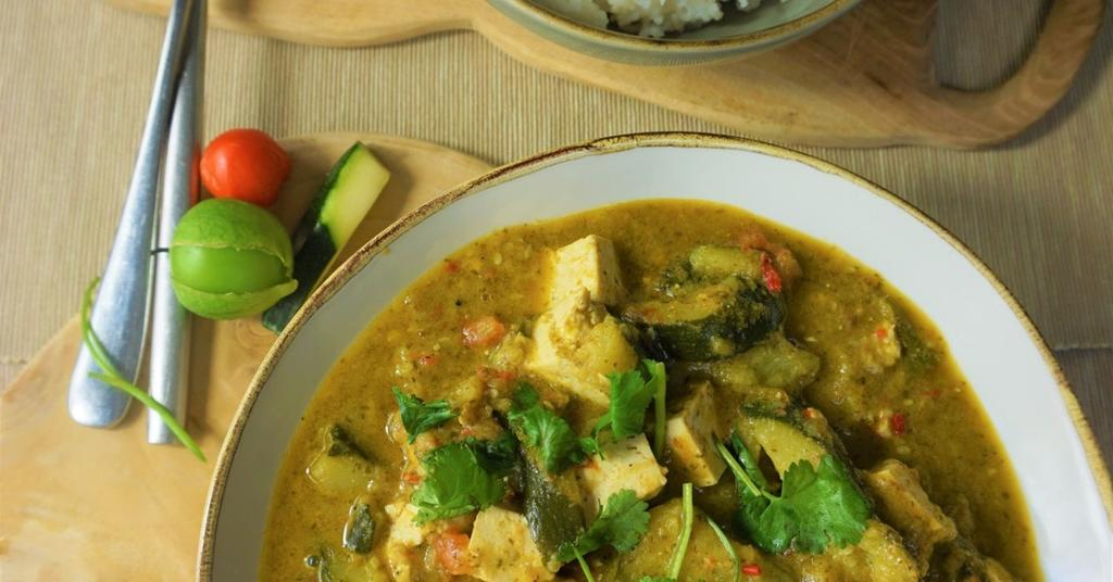 Summer Squash Green Curry and Rice (GF, VE)