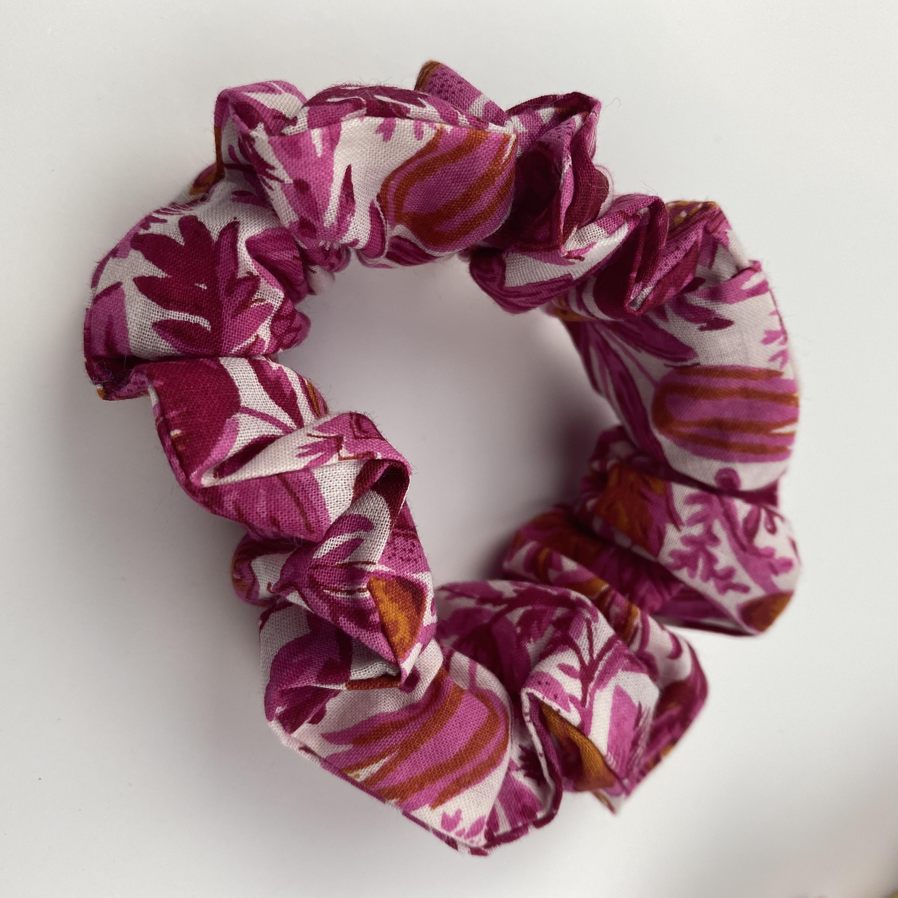 pink and white cotton floral pattern hair scrunchie