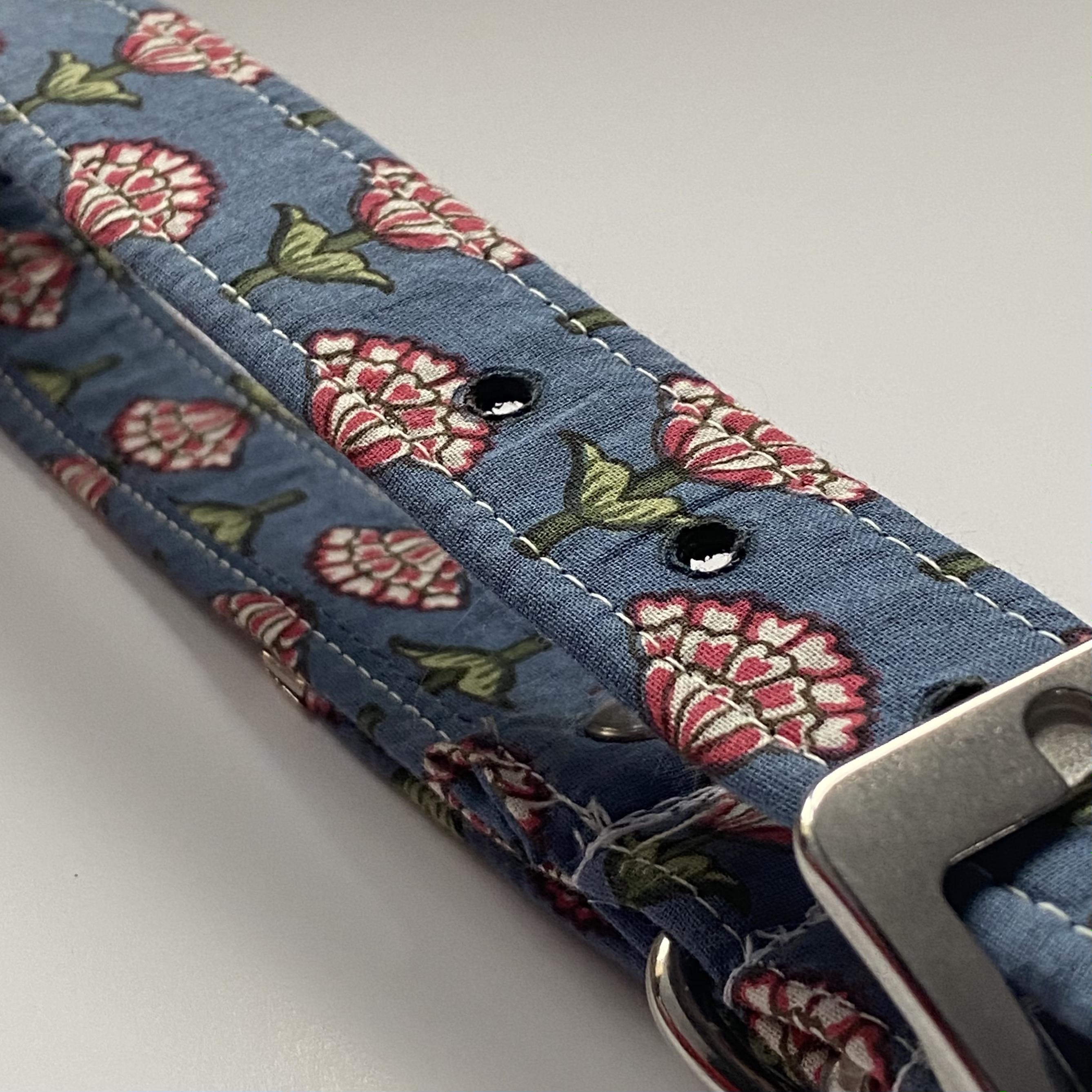 blue floral print dog collar with brass buckle
