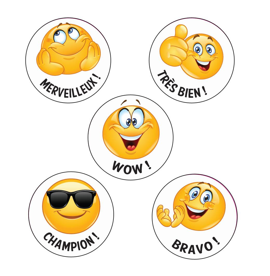 Stickers Enseignants | Champion ! Kool Smiles Emoji Autocollants de Récompense Français x 125