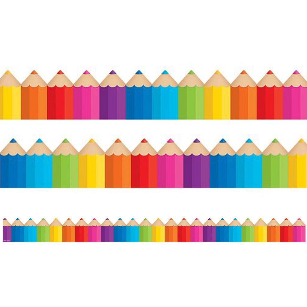 Bordures Décoratives | Crayons Coloré Bordures d'Affichages Classe - 10.5m