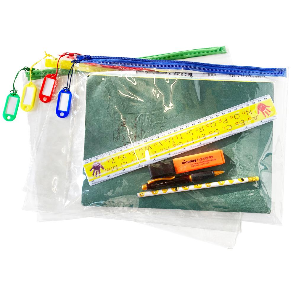 Trousses Ecole Transparent | Zip Coloré Transparent Grande - Trousse Scolaire À Crayons x 50