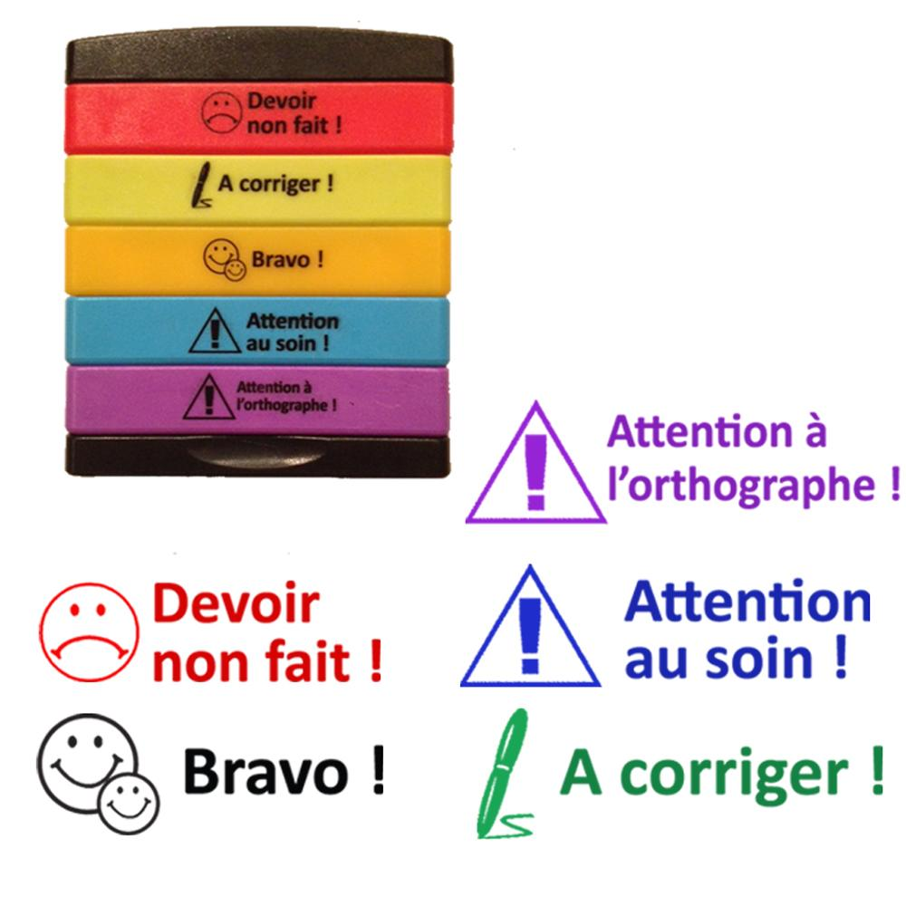 Tampons Enseignants | Devoir non fait, A corriger, Bravo, Attention au soin, Attention à l'orthographe Tampons Auto-Encreurs 5 Etages