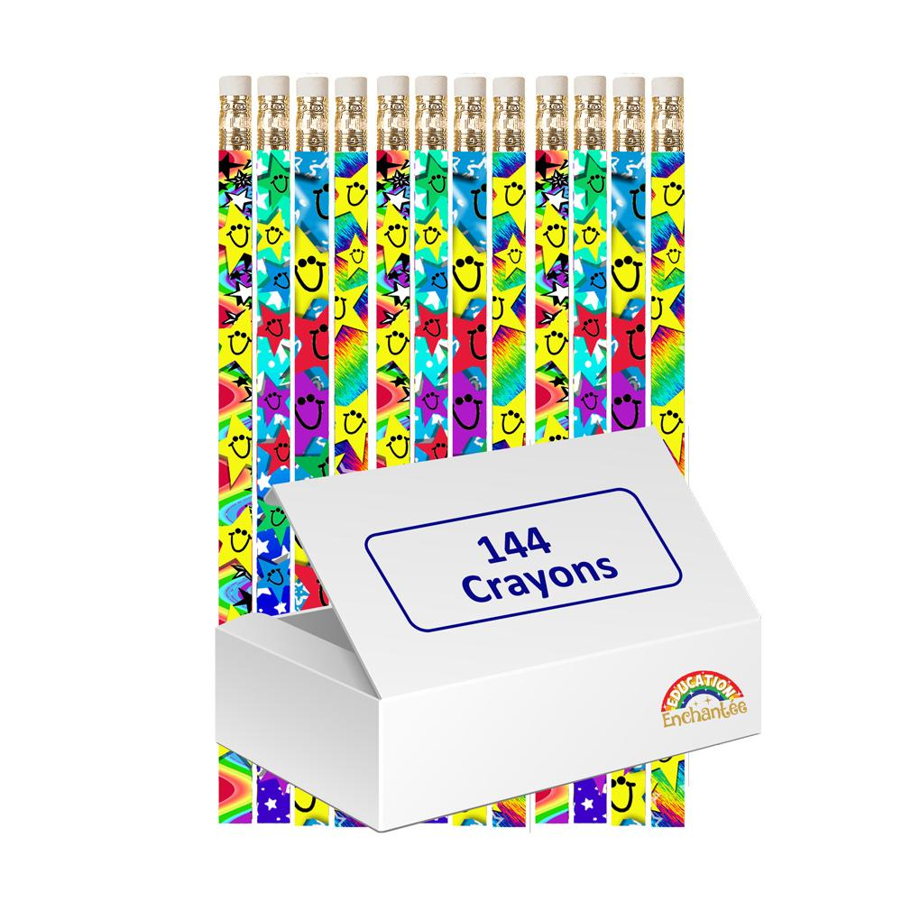 Crayons HB | Crayons Etoiles Emoticônes Souriantes avec Gommes x 12