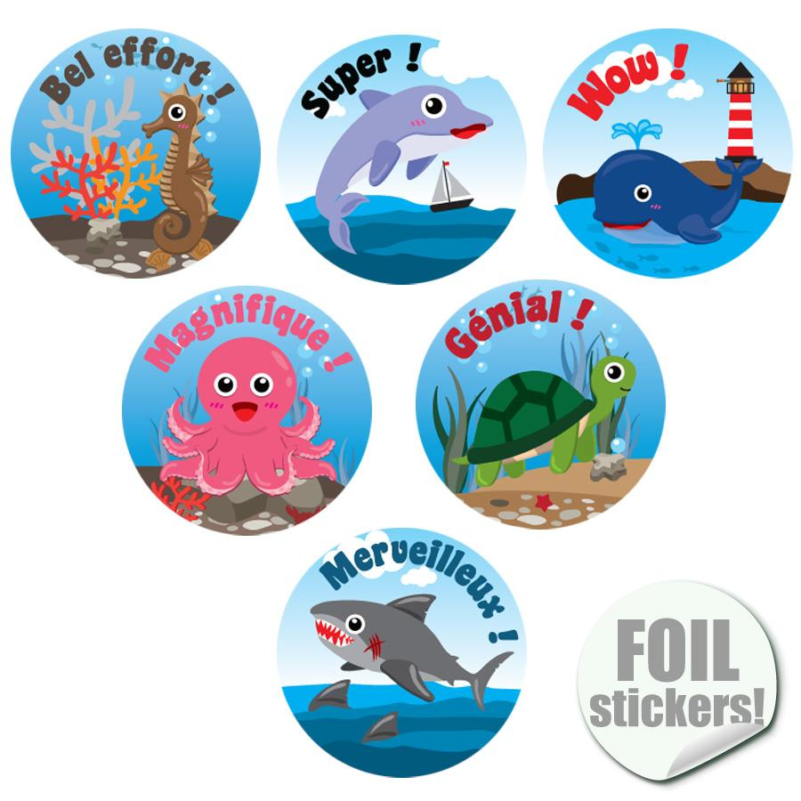 Stickers Récompense | La Vie Marine (Sea Buddies) Autocollants Récompense Brilliante Français
