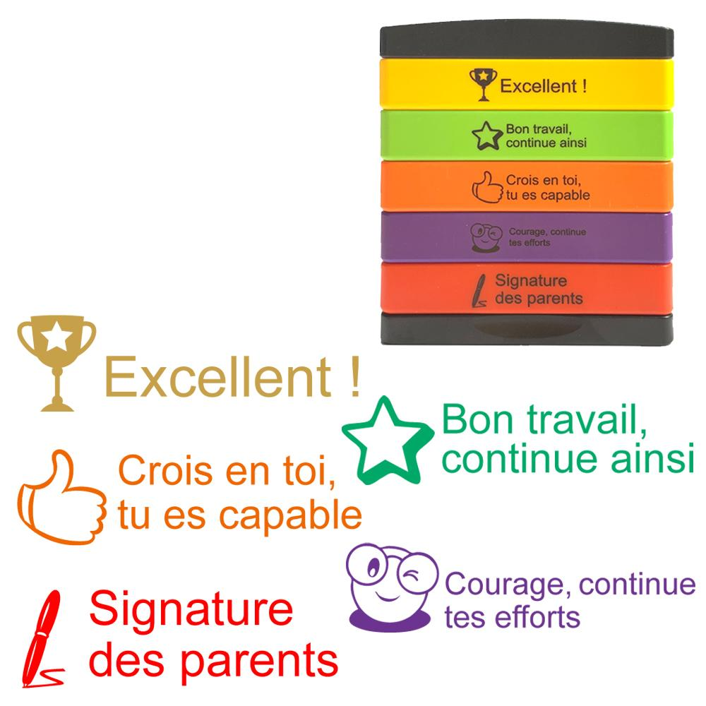 Tampons Enseignants | Excellent !, Bon travail, continue, Crois en toi,.. capable, Courage, continue, Signature des parents Tampons Auto-Encreurs 5 Etages
