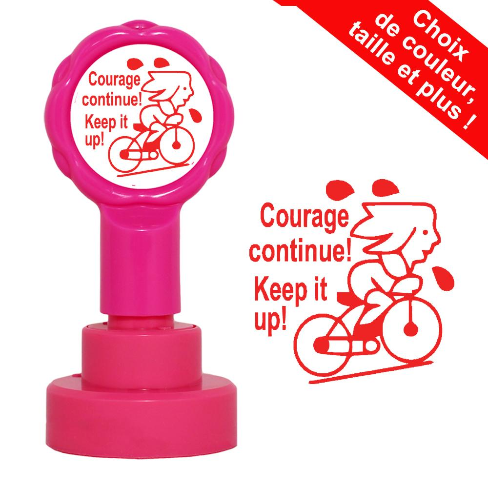 Tampons Enseignants | Courage Continue ! / Keep it up! Tampons Auto-Encreurs Bilingues - 22mm
