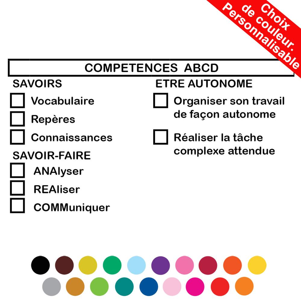Tampons Lycee Enseignants | Competences ABCD Grille d'Evaluation Tampon Encreur Personnalisé Grand - 100x52mm